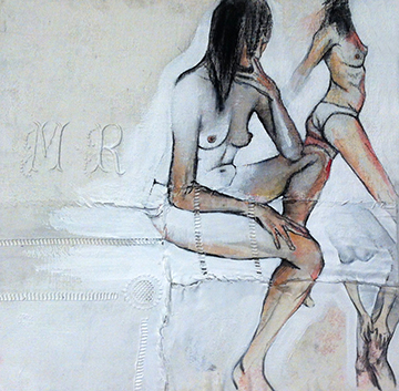 Garance Grand Format II  - Fabric, sheets, stitching, charcoal, mixed media on canvas - 16 x 16 in / 40 x 40 cm