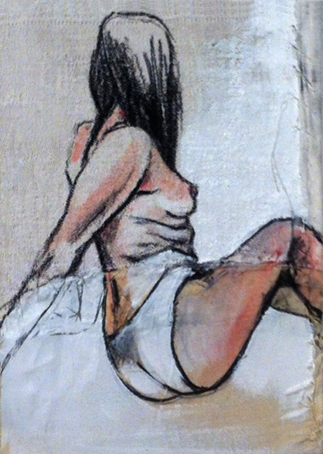 Garance Petit Format I  - Fabric, sheets, stitching, charcoal, mixed media on canvas - 8 x 6 in / 20 x 15 cm