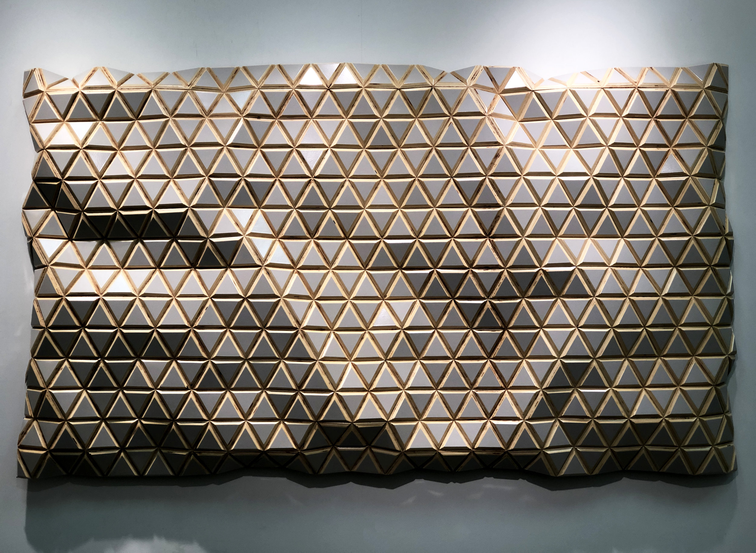 Pearl Mountain  - 2019 - Oil lacquer on carved Baltic birch - 38 x 70 inches / 96 x 178 cm