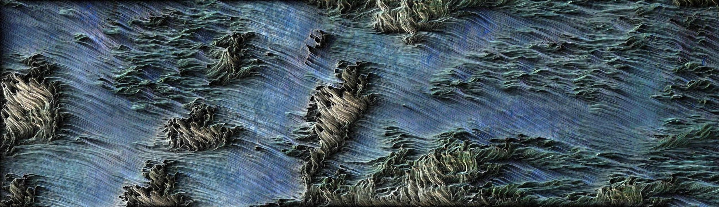 Cuzco  - 2019 - New Media - Computational engraving on aluminium - 16.5 x 57 inches / 42 x 145 cm