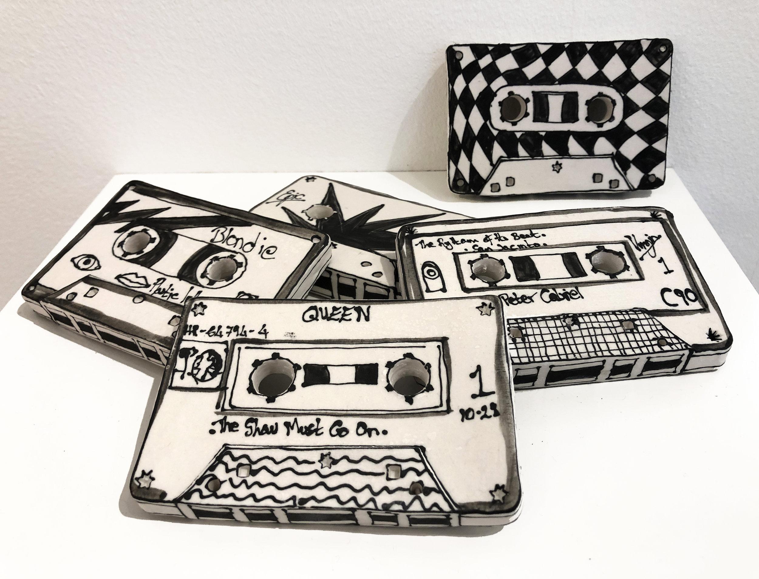 Katharine Morling  - Cassette Tapes  - 2019 - Porcelain and Black Stain