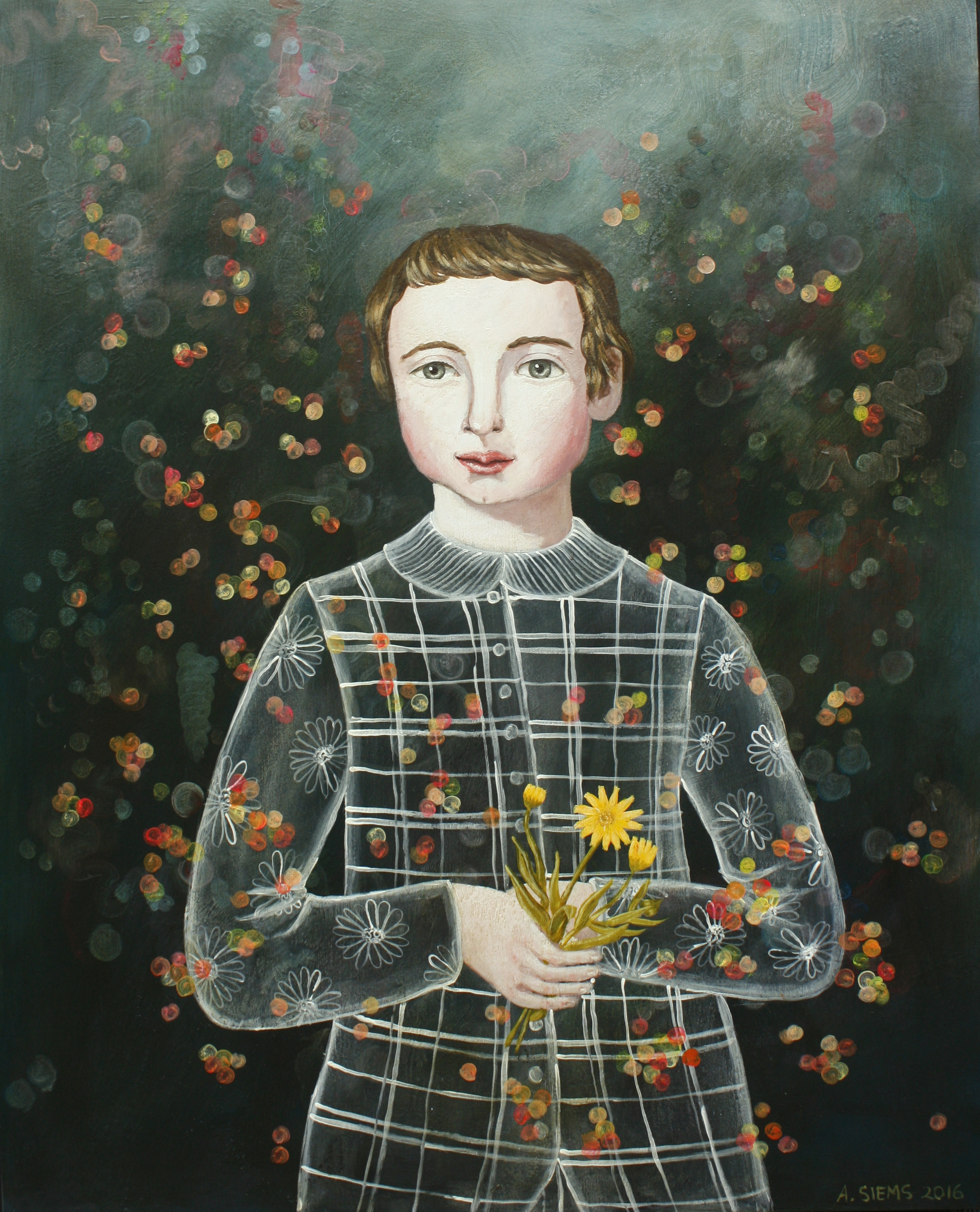 Anne Siems  - Boy with Calendula  Acrylic on wood panel - 2017 - 30x24 inch / 76x61 cm