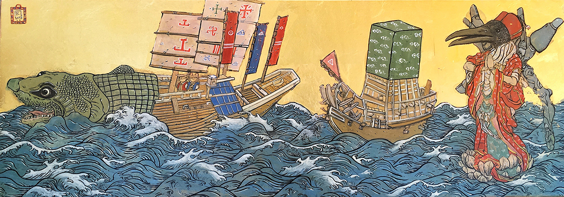 KP_Floating Thoth And Two Boatfish_25x70cm_sm.jpg