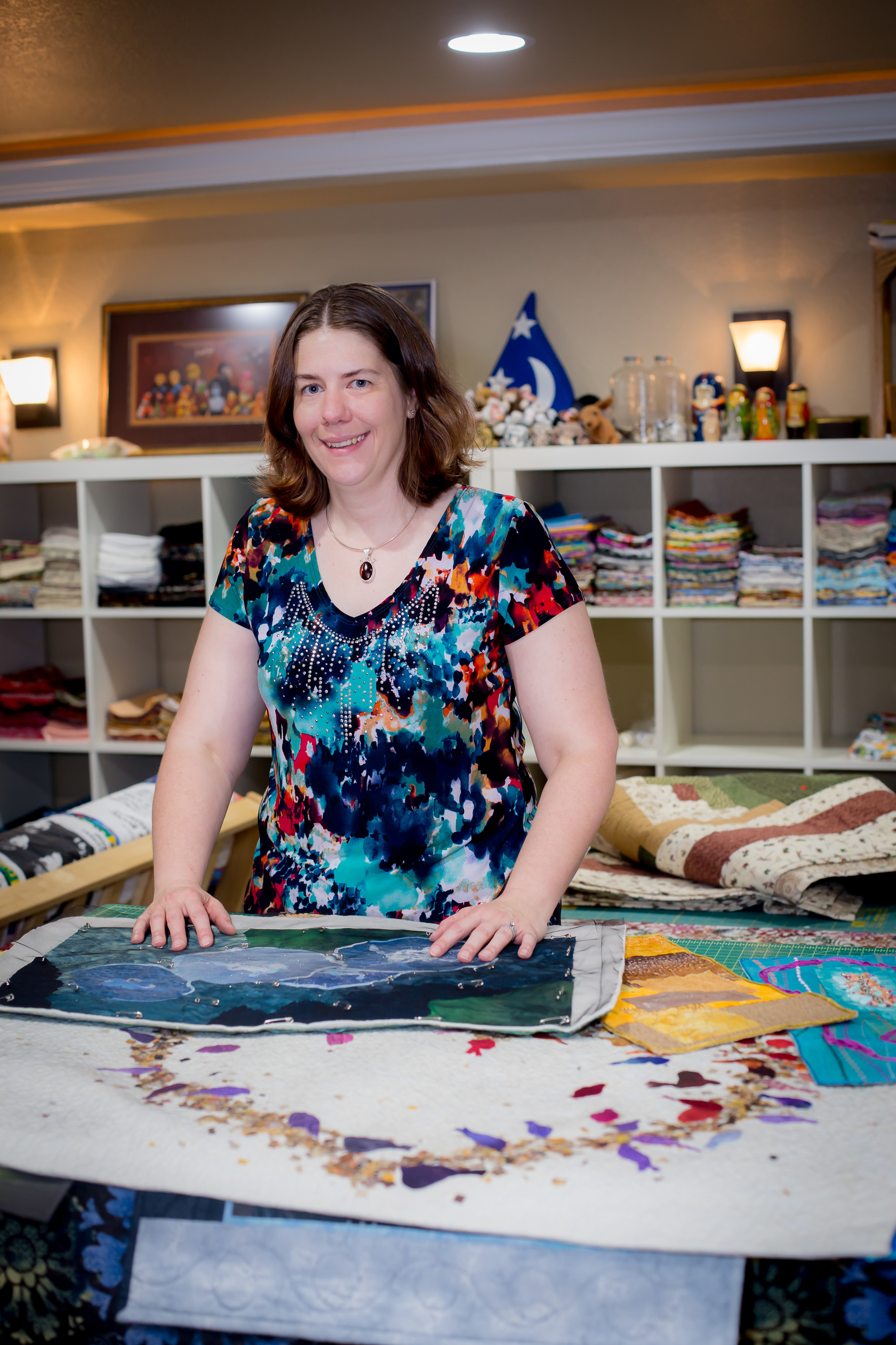 """Rebecca Musgrave   Textile/Fiber Art                       Normal   0           false   false   false     EN-US   JA   X-NONE                                                                                                                                                                                                                                                                                                                                                                              /* Style Definitions */ table.MsoNormalTable {mso-style-name:""""Table Normal""""; mso-tstyle-rowband-size:0; mso-tstyle-colband-size:0; mso-style-noshow:yes; mso-style-priority:99; mso-style-parent:""""""""; mso-padding-alt:0in 5.4pt 0in 5.4pt; mso-para-margin:0in; mso-para-margin-bottom:.0001pt; mso-pagination:widow-orphan; font-size:12.0pt; font-family:Cambria; mso-ascii-font-family:Cambria; mso-ascii-theme-font:minor-latin; mso-hansi-font-family:Cambria; mso-hansi-theme-font:minor-latin;}       I initially became a quilter as creative escape from my day job staring at a flickering screen as a software test engineer. I started with traditional bed quilts and T-shirt quilts and grew into pictorial art and abstract mixed media fiber wall hangings. Doing custom work, like pet portraits, baby, and memory quiltsenergizes me. When I'm working on a new project I can often be found fondling fabric in local quilt shops.      Visit Artist's Website"""