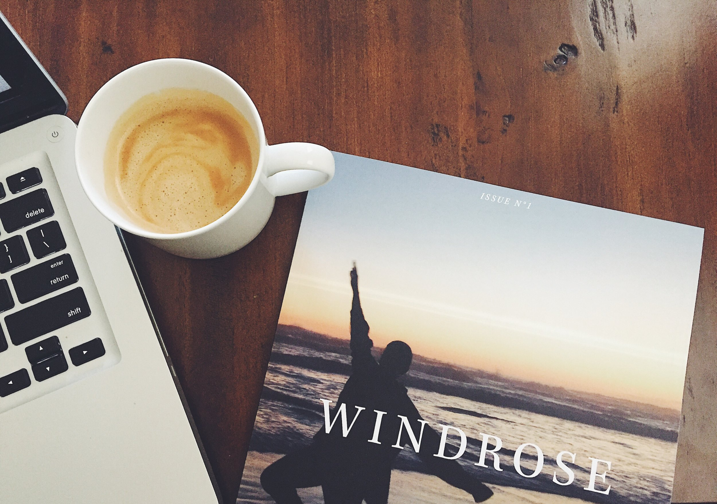 Windrose Magazine with Computer + Coffee.JPG