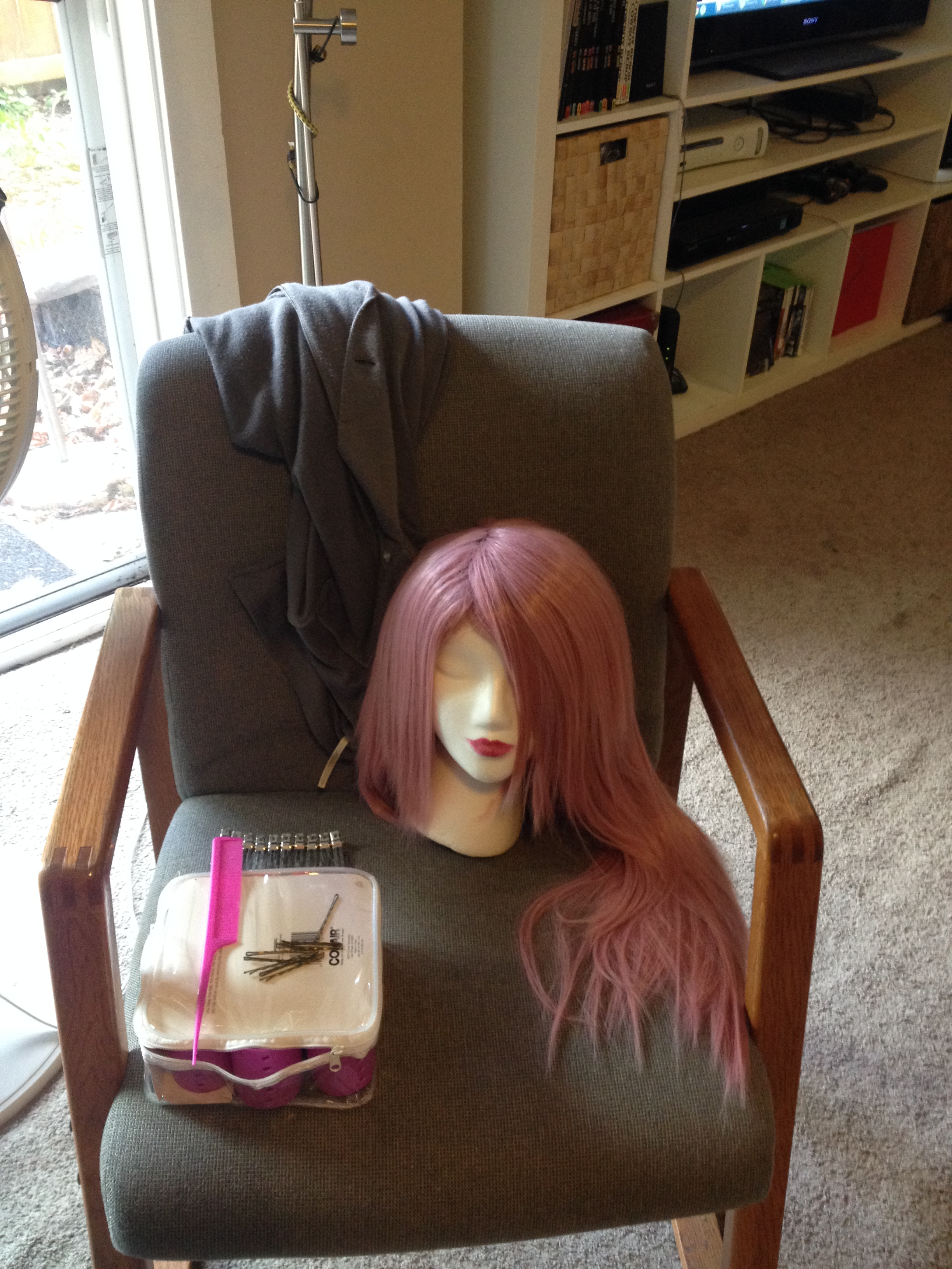 Then I pinned up a little more than the top half of the hair. This took some doing—there is a LOT of hair on that thing.