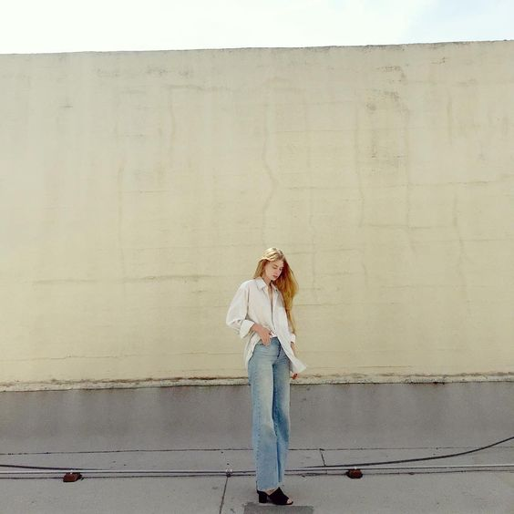 grandpa shirt - zara jeans and mules  spending a few minutes on the roof of american apparel