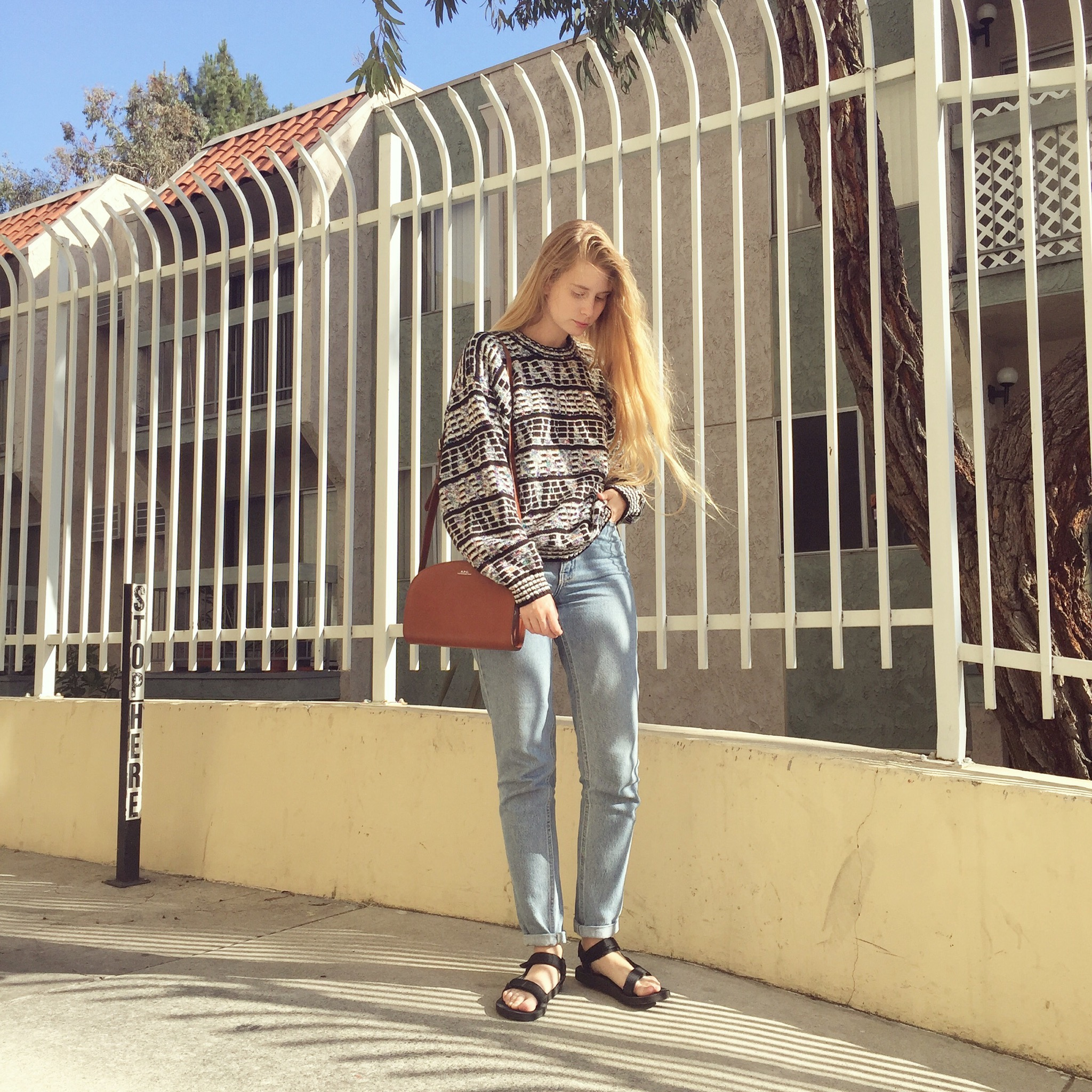06/13  the weather is still gloomy, at least 6 hours a day is. i found this sweater yesterday and try to look for positive.  only in california you can wear wool sweater and sandals, enjoy.  sweater vintage - jeans american apparel - sandals teva - purse a.p.c.