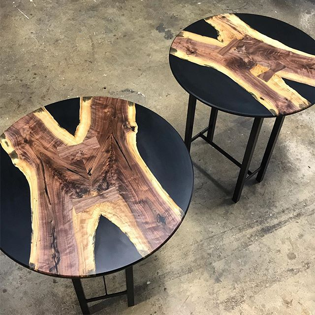 "Check out my story to see how we created these two resin and walnut table tops with their first coat of @osmocanada oil. We started with a 2' long 5"" diameter tree limb that our clients grandpa cut down and formed into a couple of elegant table tops. The wood wasn't ideal to work with, but they turned out to be pretty sharp • • • #woodwork #resin #rivertable #luxury #lemonadefromlemons #joinery #furniture #treetable #resinart #sidetable #design #elegant @baltic_day @resin_art_obsession #travel #furnituredesign #interiordesign #raleigh #nc #epoxy #ilovemyjob"