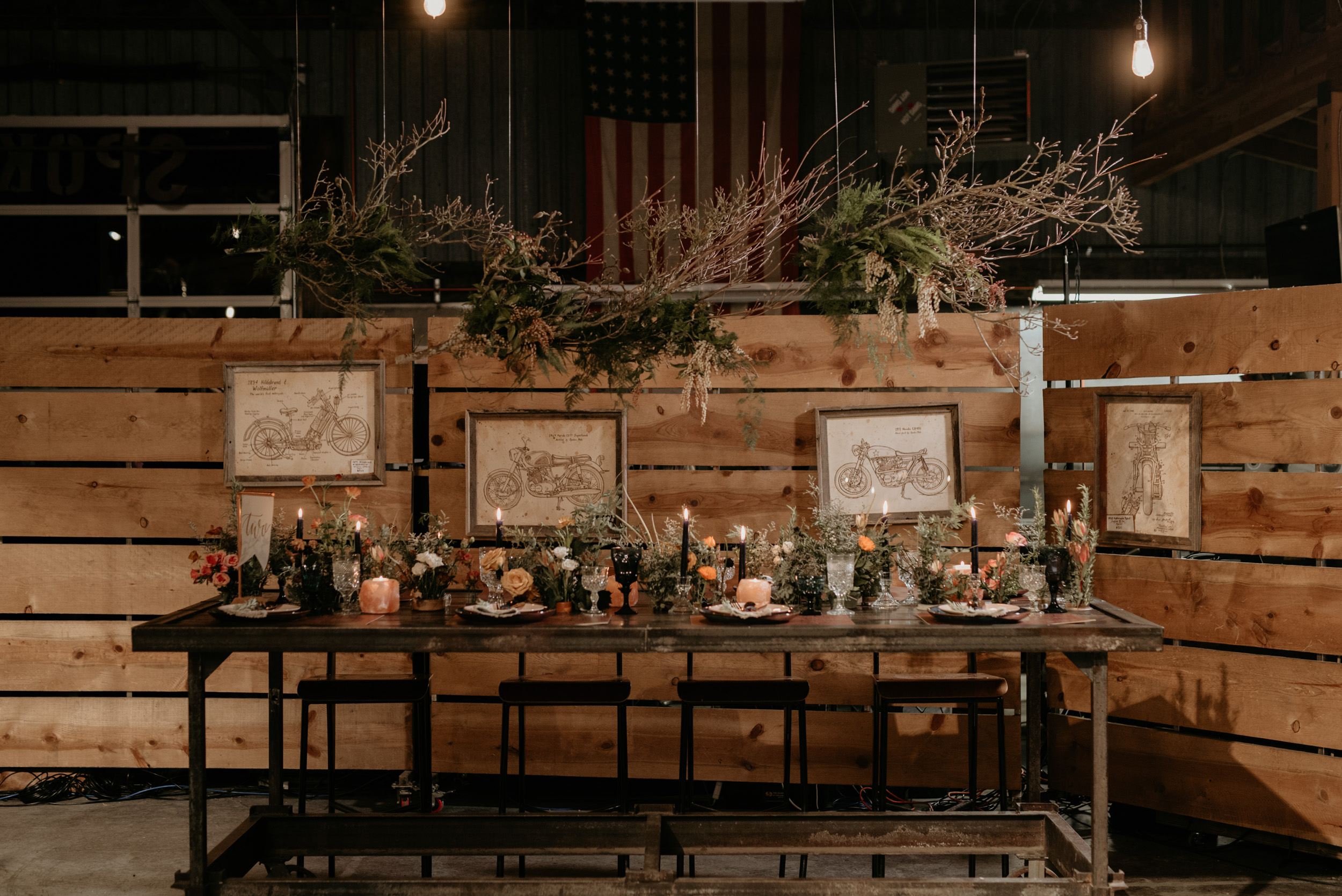 Edgy, natural tablescape at  Spoken Moto . Photo by  Benjamin Edwards , planning and styling  Britt and Bixby Events , rockin' florals by  Bramble Floral , lettering by  Benson Paper Co ., Specialty rentals by  Curated . Designed for  Wedventure Magazine .
