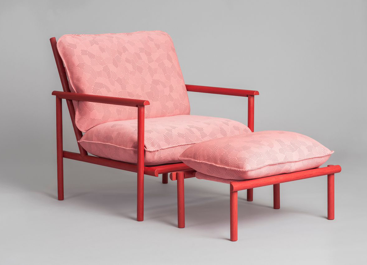 Prop Up armchair and footstool by Vera and Kyte