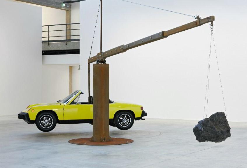 Chris Burden,Porsche with Meteorite, 2013, restored 1974, Courtesy of Artist and Gagosian