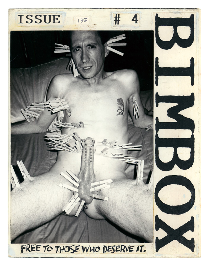 Mockup of Bob Flanagan on the cover of Bimbox, No. 4. Bob Flanagan and Sheree Rose Collection. ONE Archives at the USC Libraries