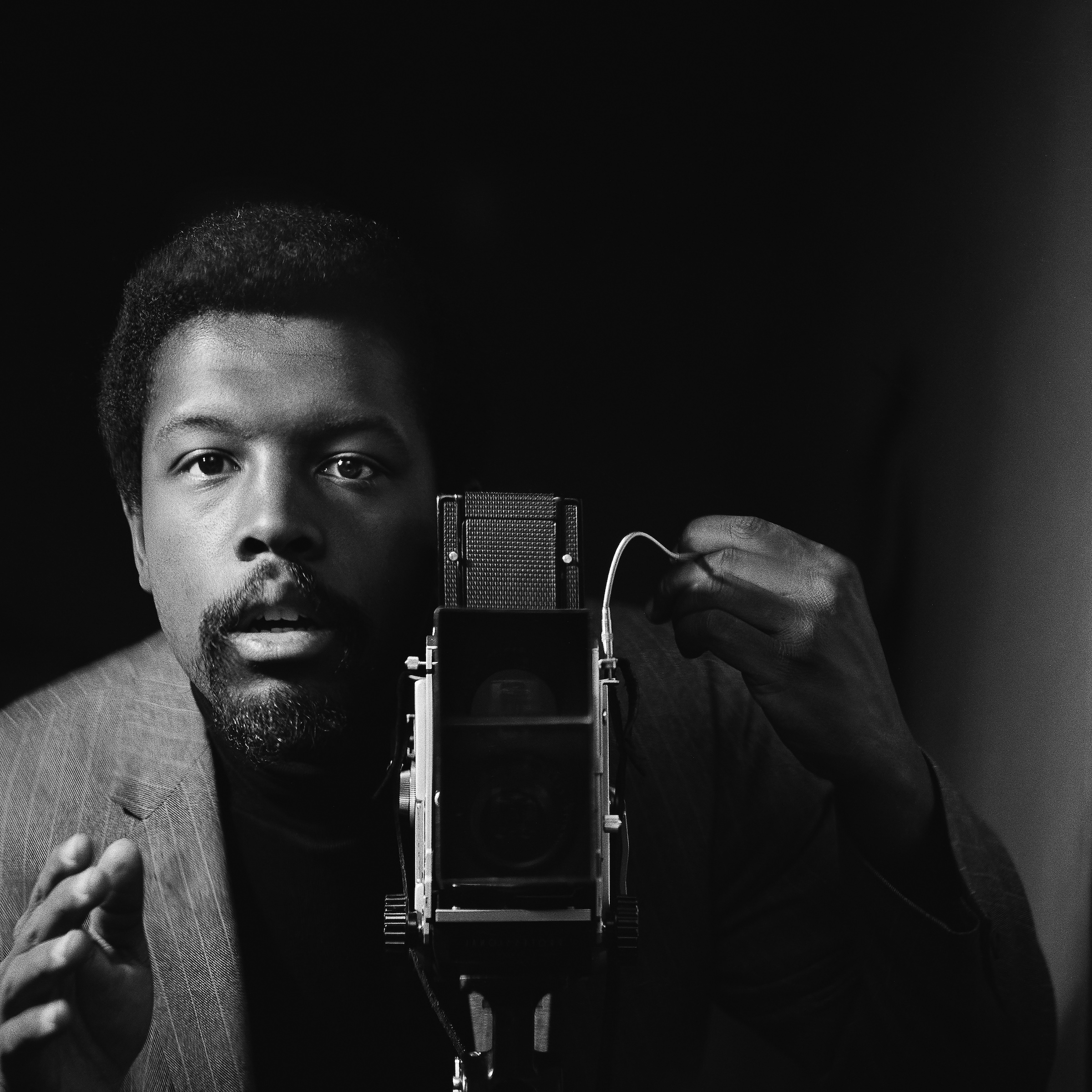 Kwame Brathwaite. Self-portrait, African Jazz-Art Society & Studios (AJASS), Harlem, ca. 1964. Courtesy of the artist and Philip Martin Gallery, Los Angeles.