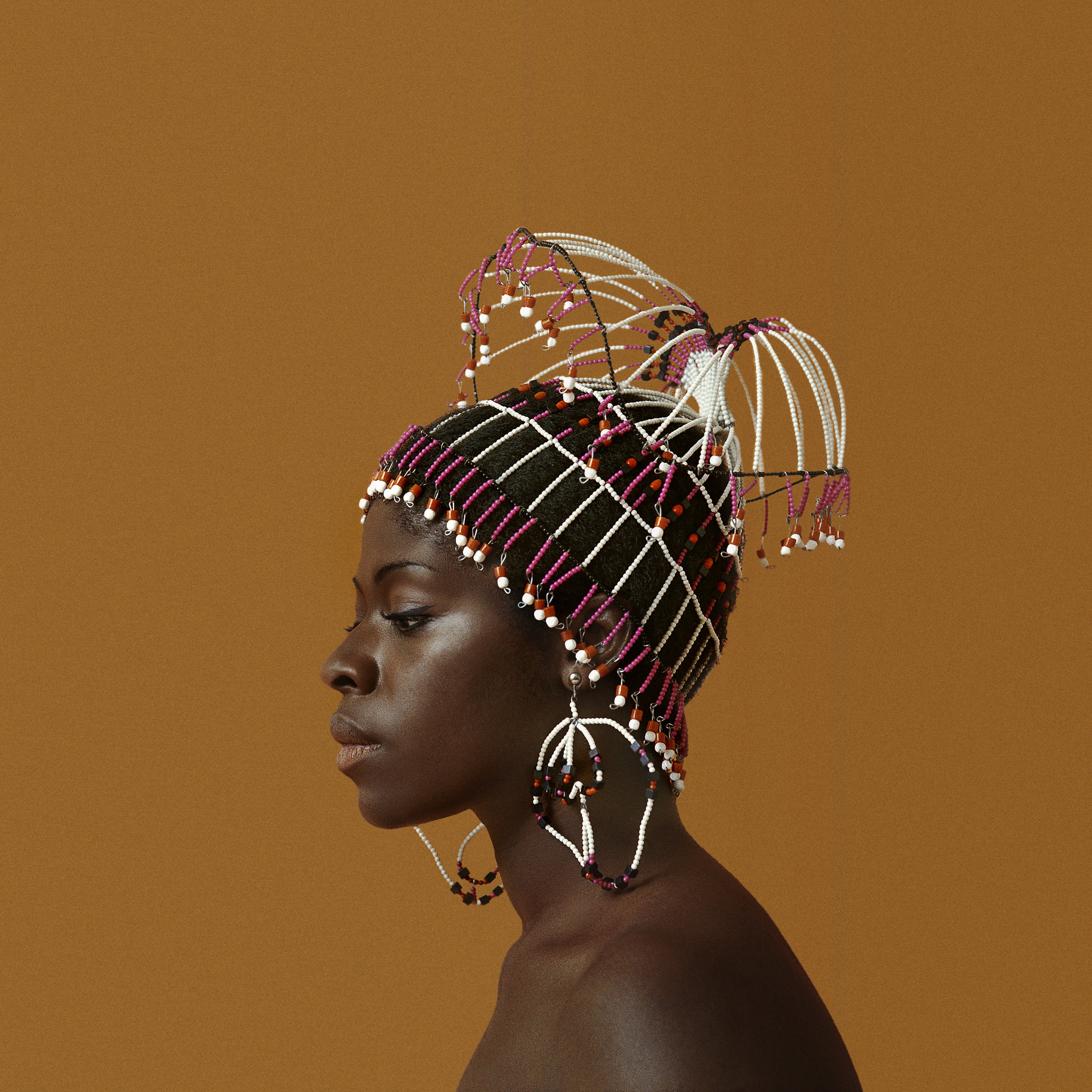 Kwame Brathwaite. Sikolo Brathwaite wearing a headpiece designed by Carolee Prince, AJASS, Harlem, 1968. Courtesy of the artist and Philip Martin Gallery, Los Angeles.