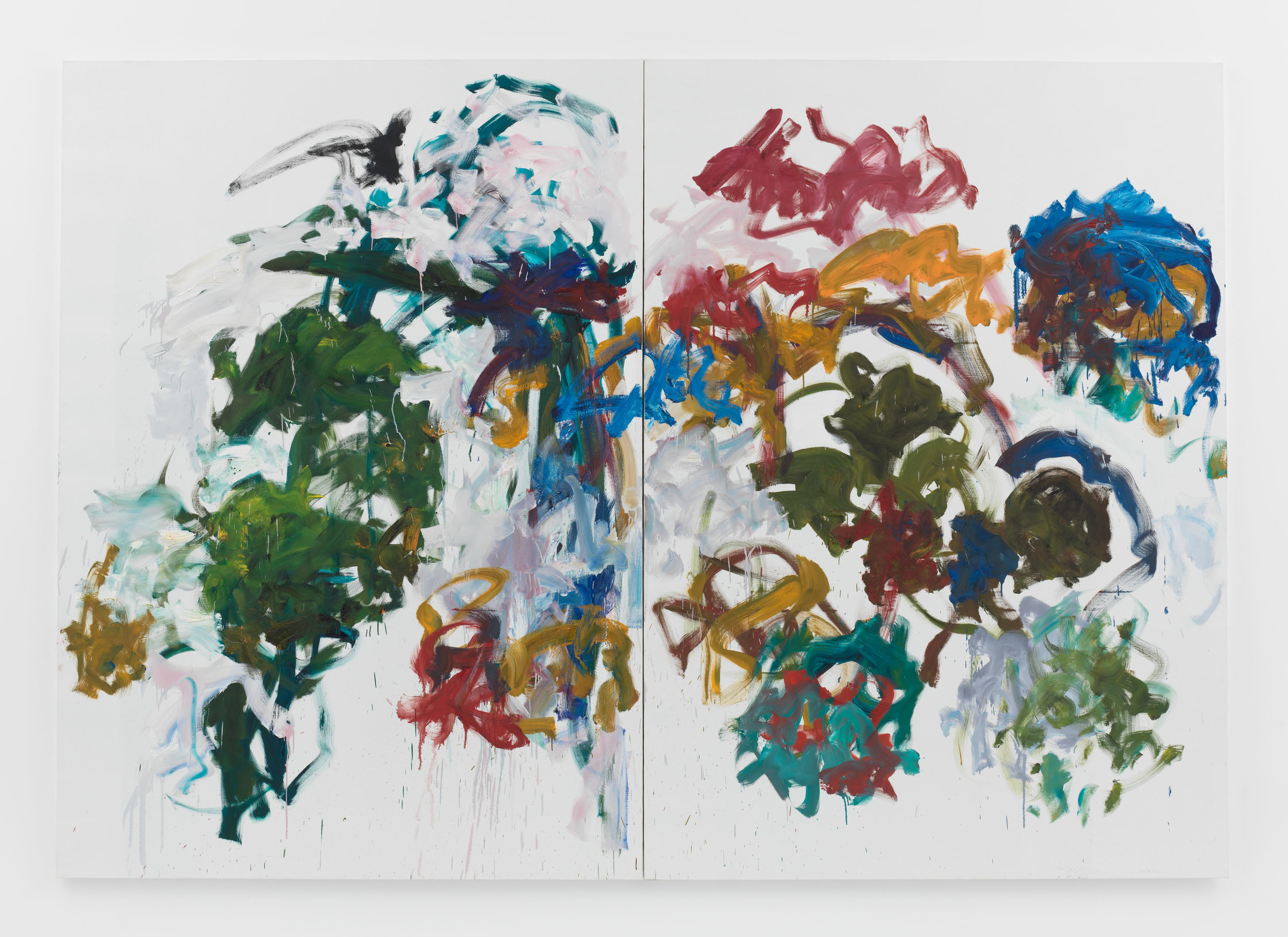Joan Mitchell,   Sunflowers , 1990-1991, Oil on canvas in two (2) parts, 110 1/4 x 157 1/2 inches, 280 x 400.1 cm