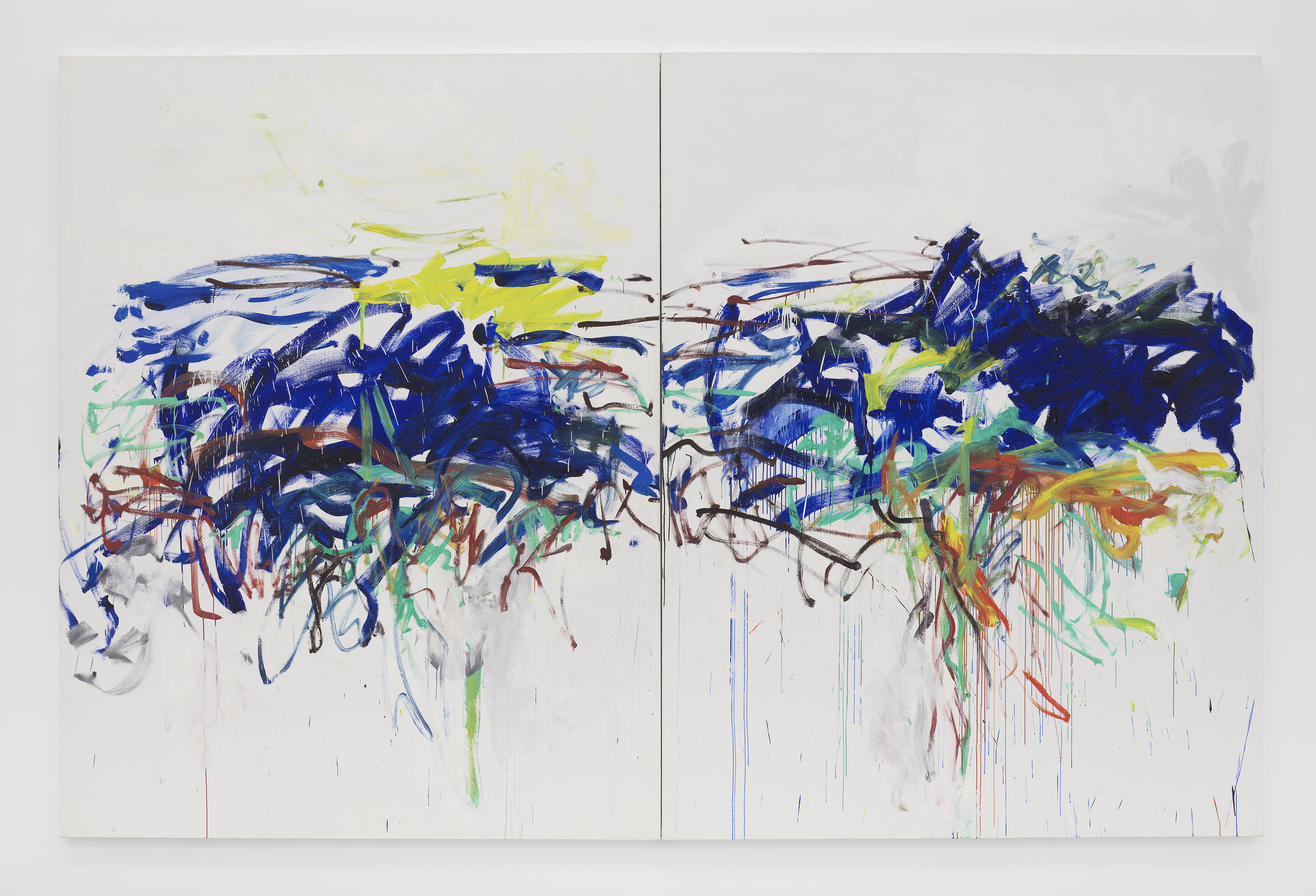 Joan Mitchell ,  Untitled , 1992, Oil on canvas in two (2) parts, 102 3/8 x 157 3/4 inches, 260 x 400.7 cm