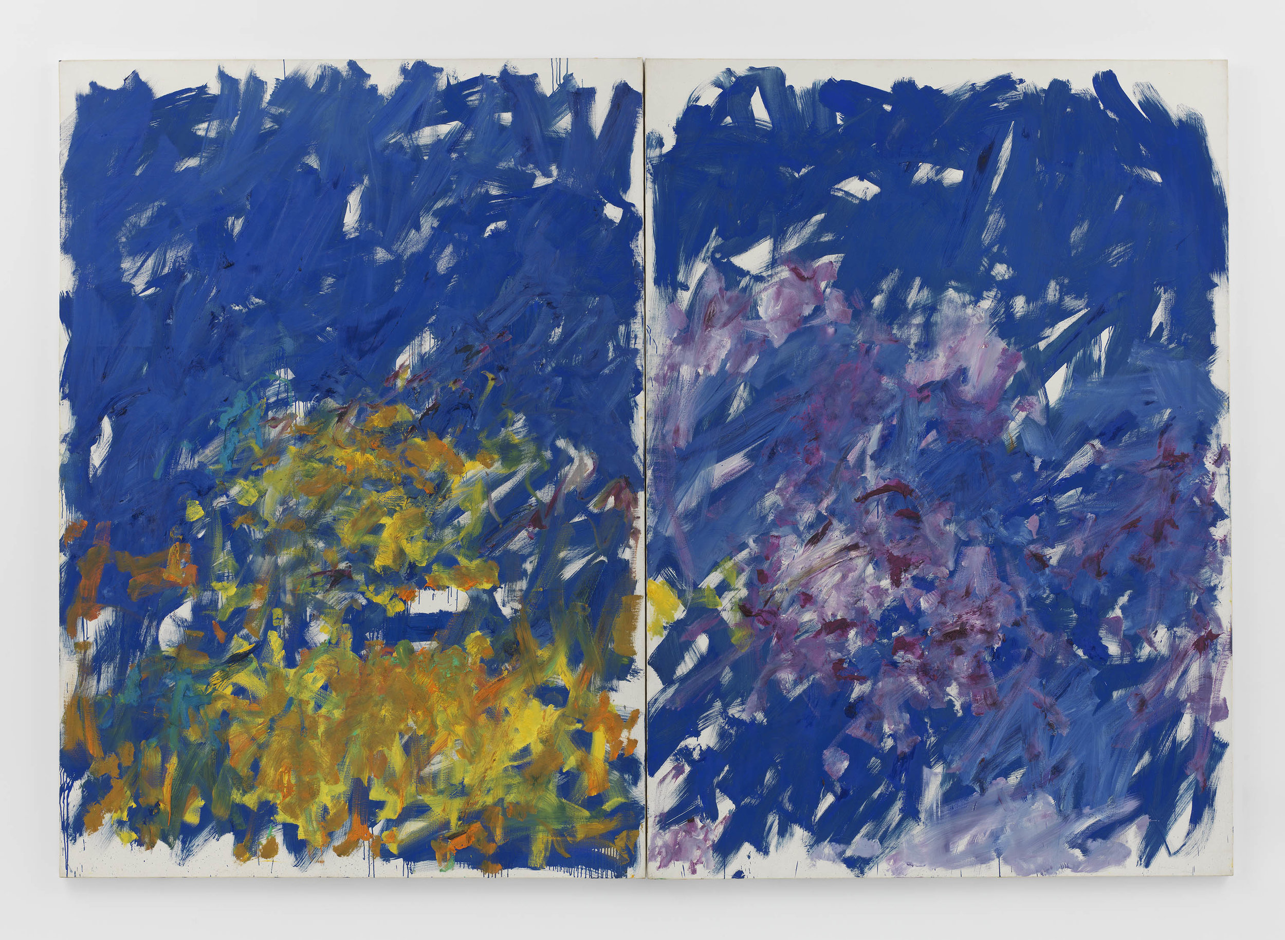 Joan Mitchell ,  Row Row , 1982, Oil on canvas in two (2) parts, 110 1/4 x 157 7/8 inches, 280 x 401 cm