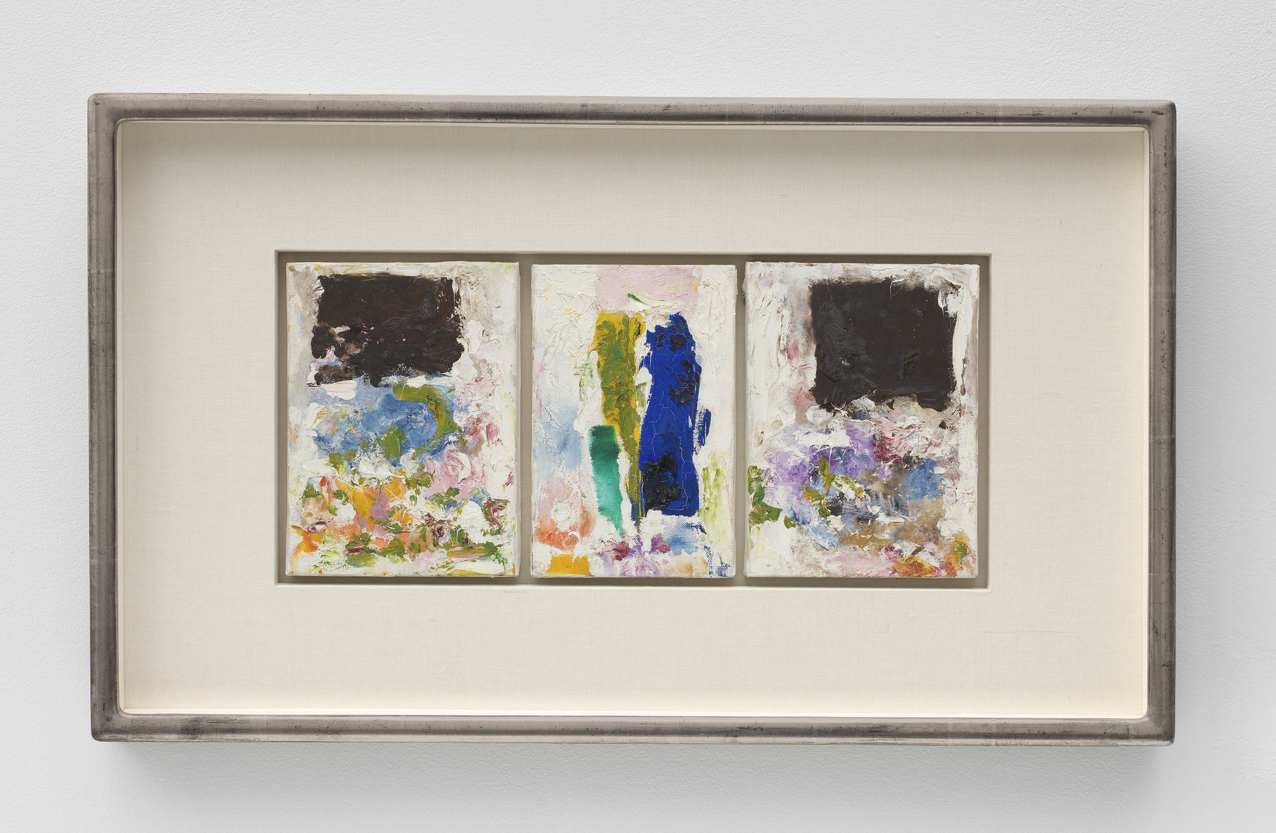 Joan Mitchell,   Untitled , 1974-1975, Oil on canvas in three (3) parts, 8 5/8 x 19 1/8 inches, 21.9 x 48.6 cm, Framed: 17 3/4 x 29 3/4 x 2 inches, 45.1 x 75.6 x 5.1 cm