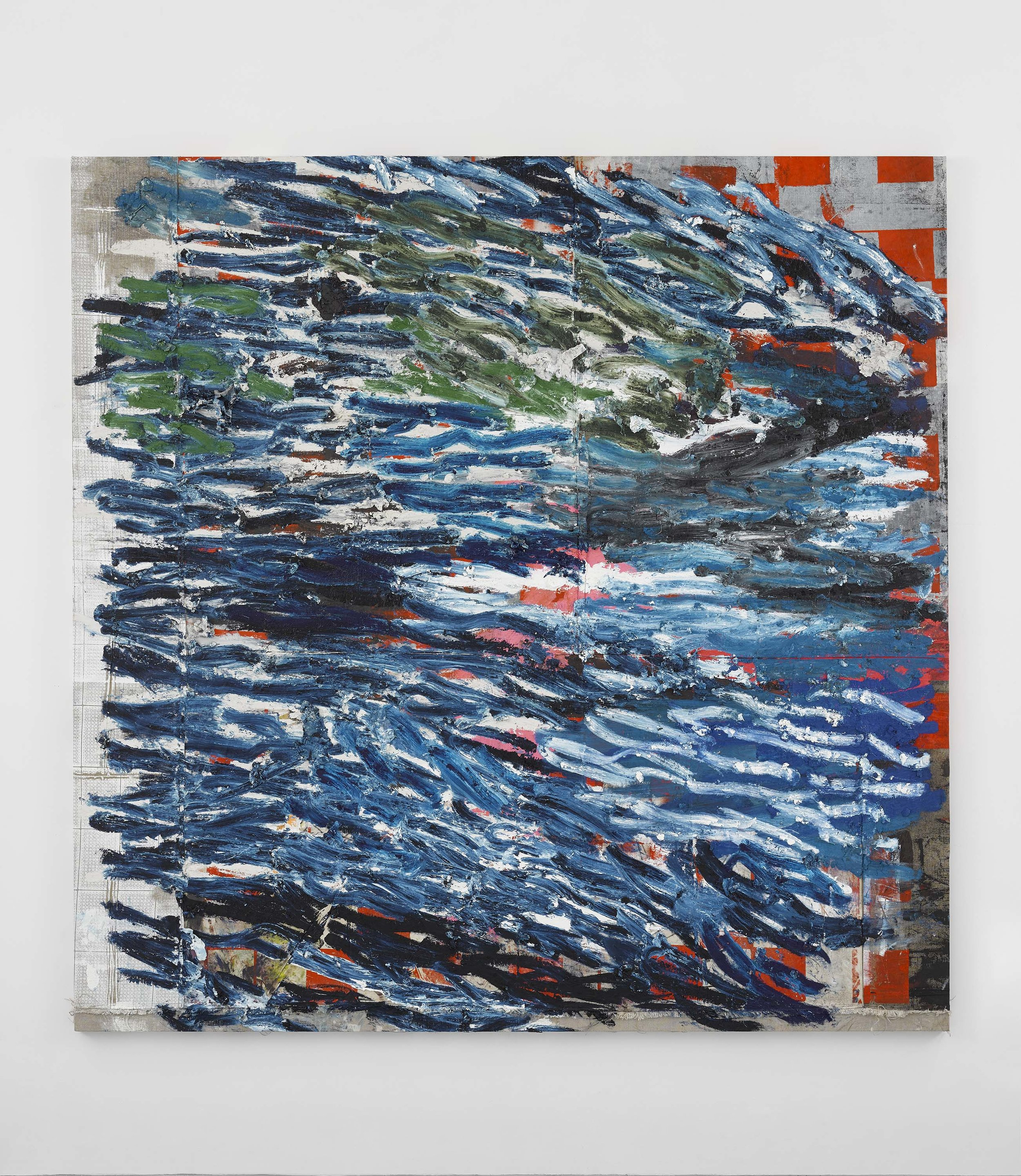 Oscar Murillo,   (untitled) surge , 2017-2019, Oil and oil stick on canvas and linen, 90 1/2 x 90 1/2 inches, 230 x 230 cm