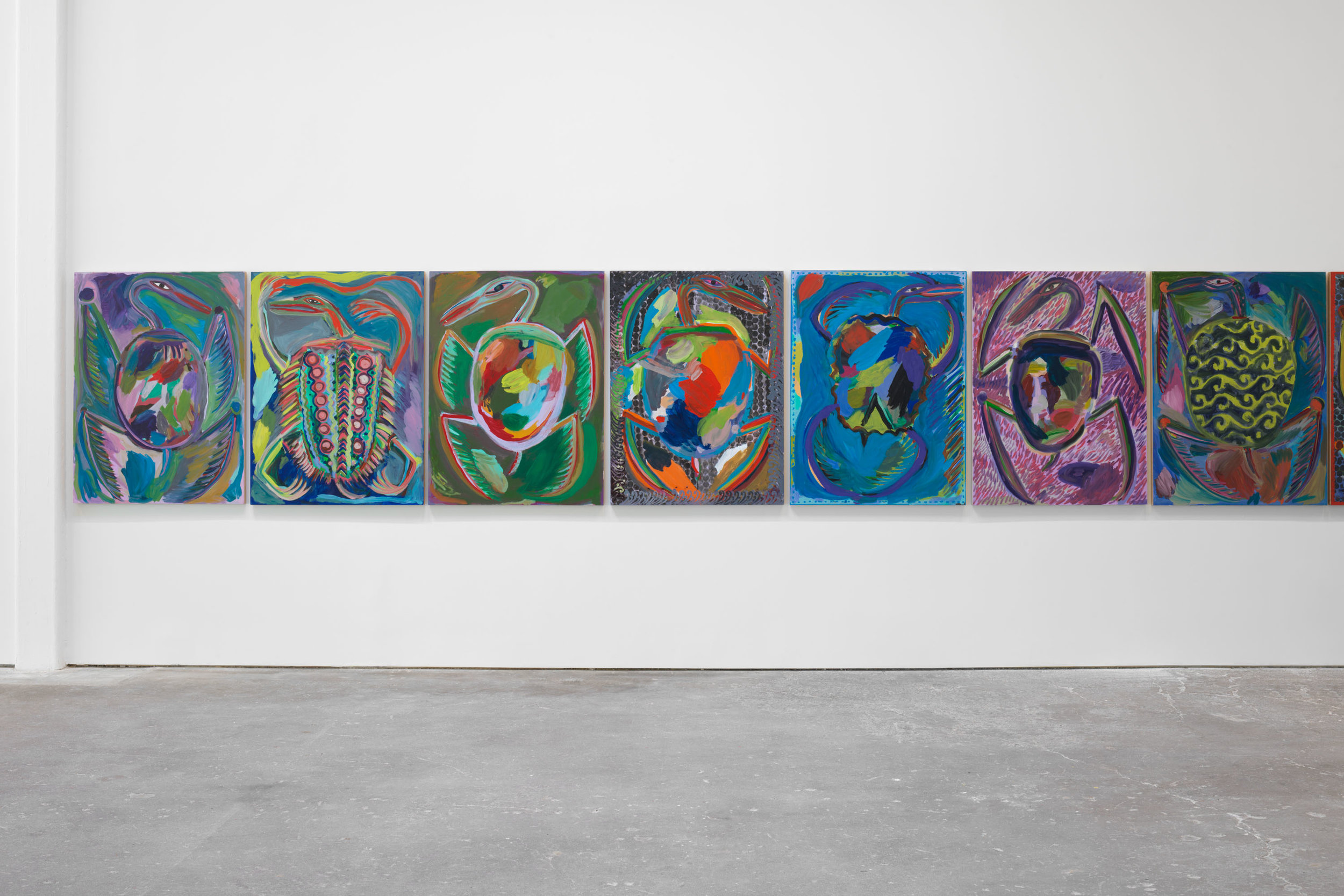 Installation view,  Josh Smith: Emo Jungle , David Zwirner, New York, 2019. Courtesy David Zwirn.