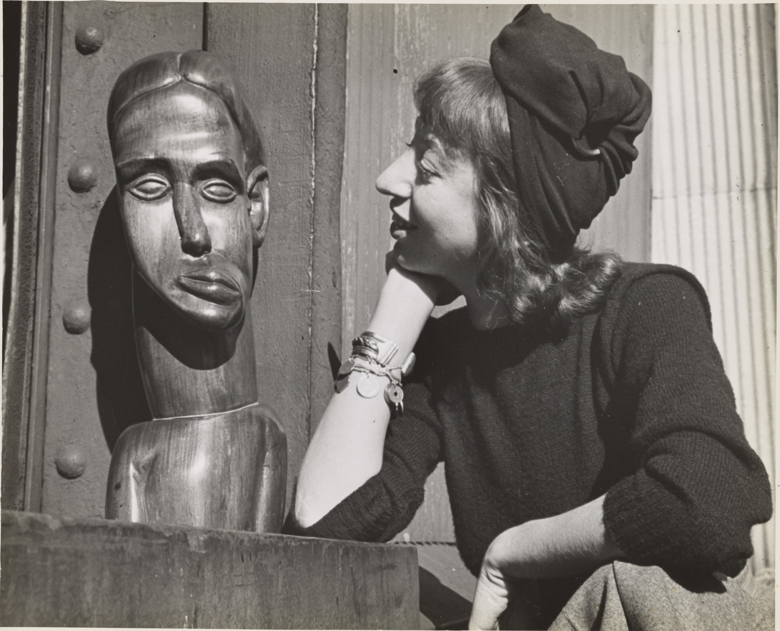 Lee Krasner at the WPA Pier, New York City, where she was working on a WPA commission, c.1940. Photograph by Fred Prater. Lee Krasner Papers, c.1905-1984. Archives of American Art, Smithsonian Institution.