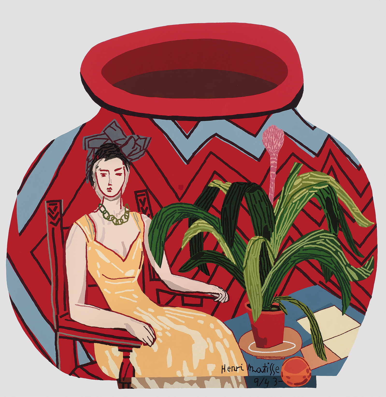 JONAS WOOD  Red Portrait Pot,  2015 Oil and acrylic on canvas 76 x 74 in 193 x 188 cm  © Jonas Wood. Photo: Brian Forrest. Courtesy the artist and Gagosian.