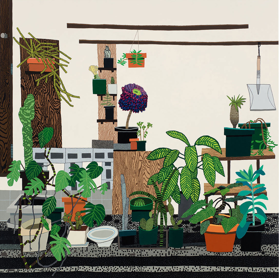 JONAS WOOD  Still Life with Wood Panels,  2018 Oil and acrylic on canvas 82 x 82 in 208.3 x 208.3 cm  © Jonas Wood. Photo: Brian Forrest. Courtesy the artist and Gagosian.