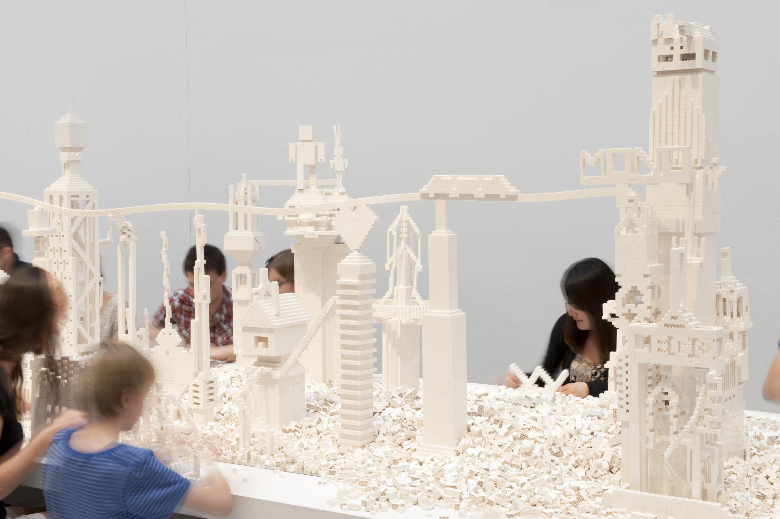 Olafur Eliasson (b.1967)   The cubic structural evolution project  2004 White LEGO bricks (various sizes), wood, mirror Installation view: QAGOMA Photo: Mark Sherwood, QAGOMA © 2004 Olafur Eliasson