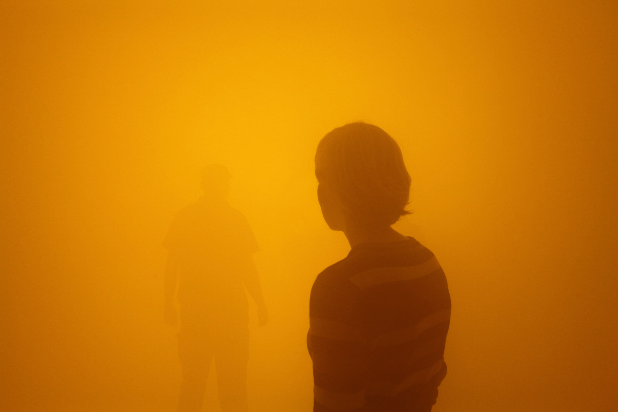 Olafur Eliasson (b.1967)   Din blinde passager  (Your blind passenger) 2010 Fluorescent lamps, monofrequency lamps, fog machine, ventilator, wood, aluminium, steel, fabric, plastic sheet Dimensions variable Installation view at ARKEN Museum of Modern Art, Copenhagen, 2010 Photo: Thilo Frank / Studio Olafur Eliasson Courtesy of the artist; neugerriemschneider, Berlin; Tanya Bonakdar Gallery, New York / Los Angeles © 2010 Olafur Eliasson