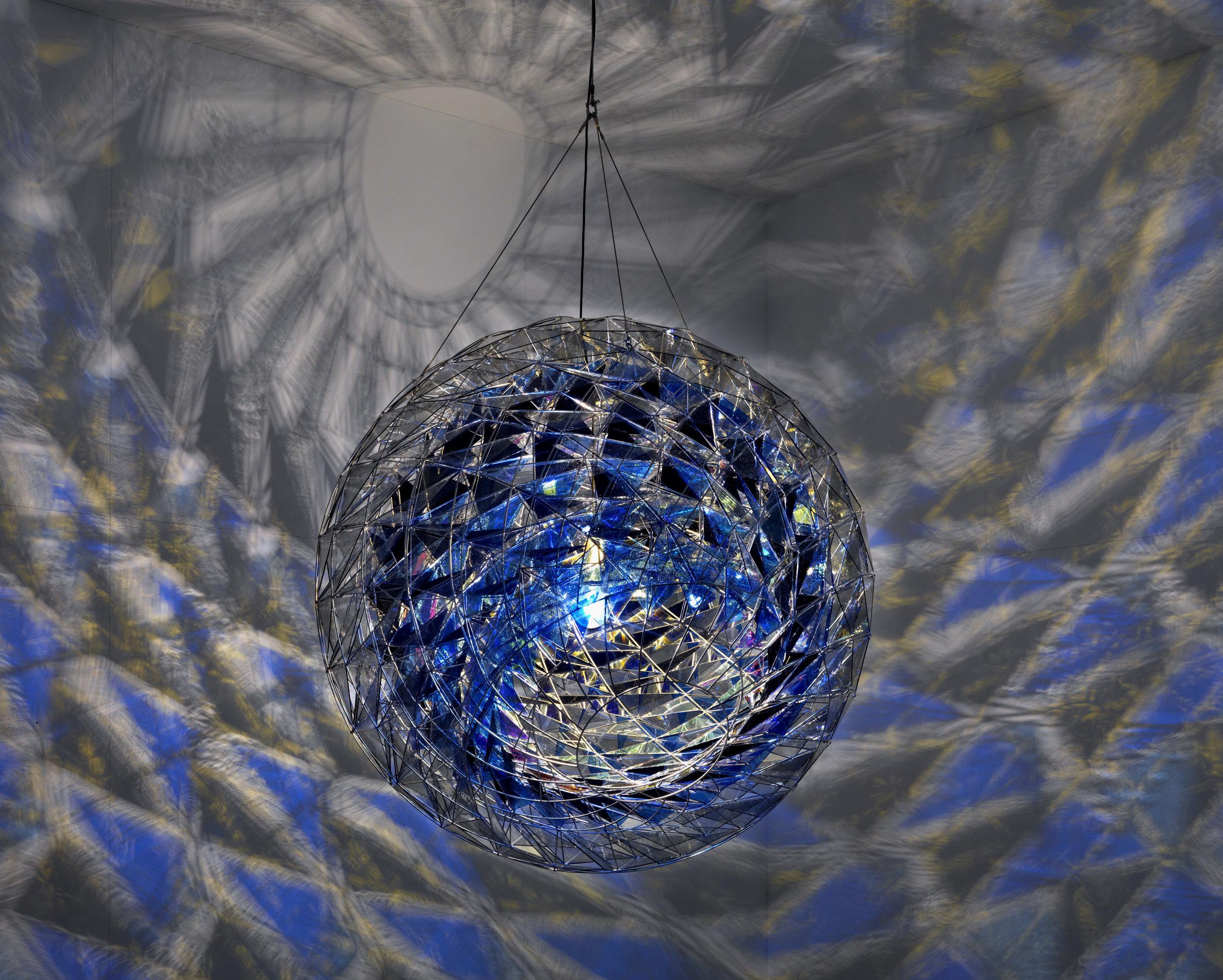Olafur Eliasson (b.1967)   Cold wind sphere  2012 Stainless steel, coloured glass (dark blue, blue and light grey), mirror,colour-effect filter glass (blue),bulb ø 1700 mm Photo: Jens Ziehe Centre Pompidou, Paris © 2012 Olafur Eliasson