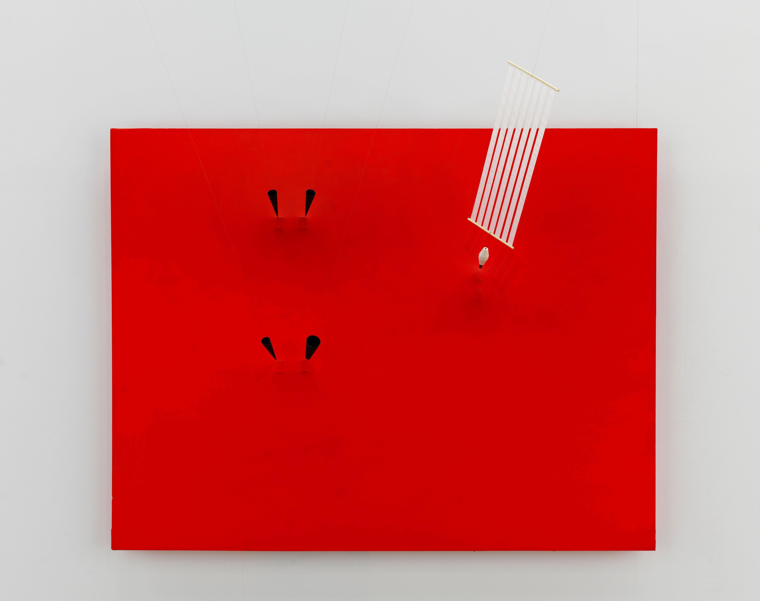 Magnetic Wall 9 (Red)  1961  Acrylic paint on canvas, magnets, copper wire, foam, paint, plastic,steel, synthetic cloth 180 × 220 × 10 cm Centre Pompidou, Musée national d'art moderne–Centre de création industrielle, Paris © ADAGP, Paris and DACS, London 2019 Photo: Georges Meguerditchian