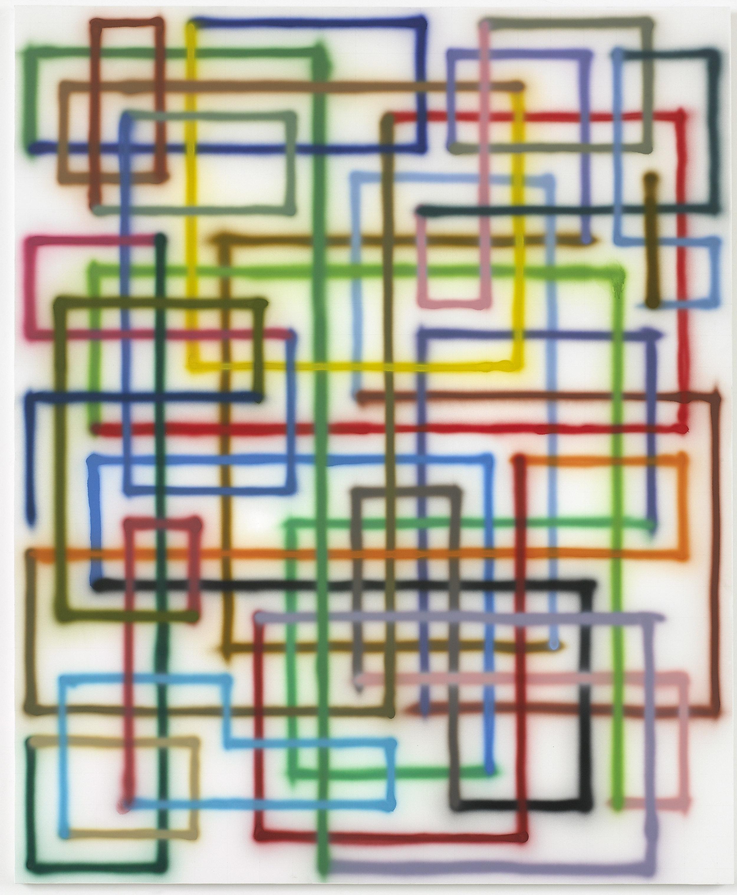Bernard Frize  Fui   , 2007  Acrylic on canvas 220 x 180 cm Collection Fondation Louis Vuitton, Paris. Picture: © Adagp, Paris 2019