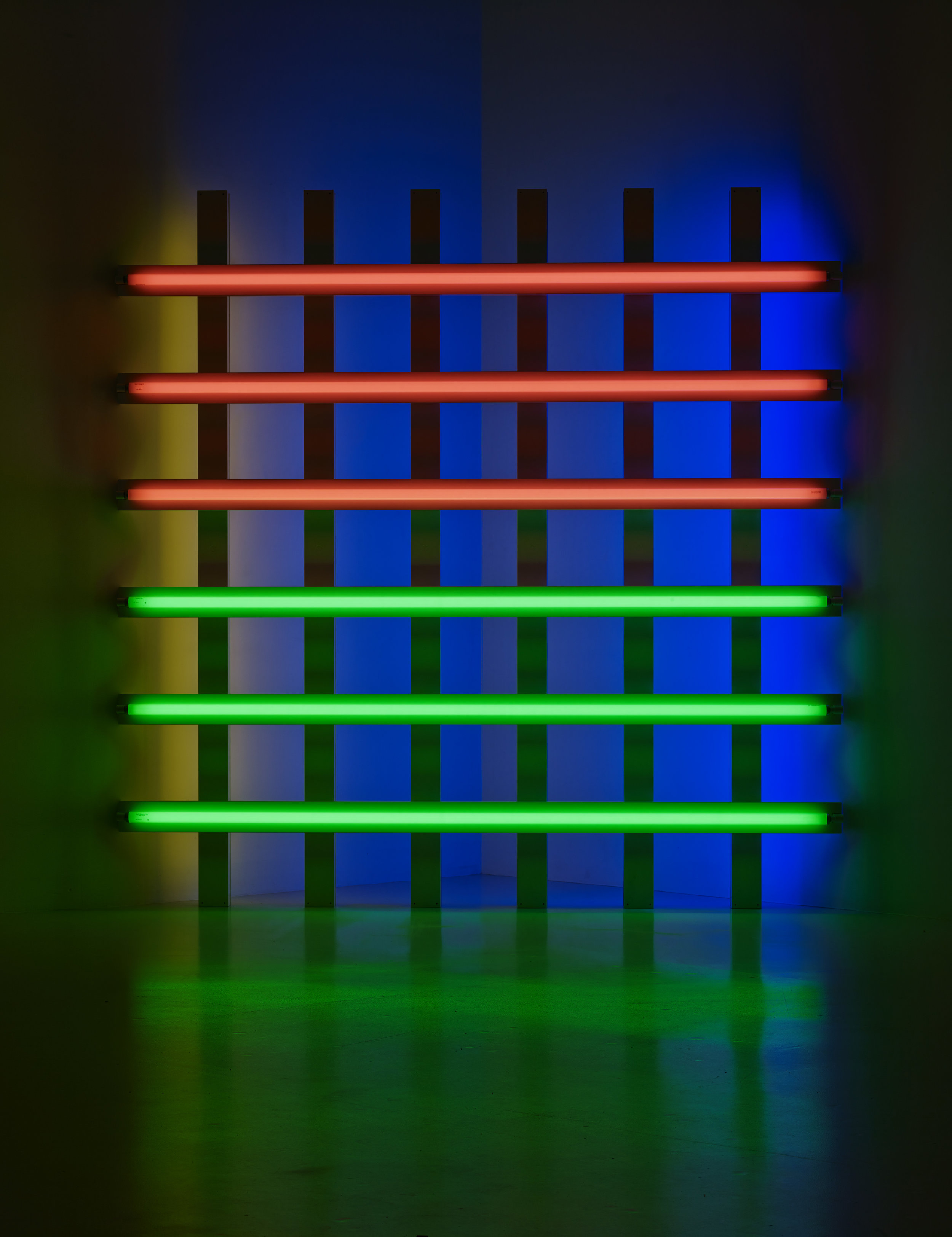 Dan Flavin  Untitled (for you, Leo, in long respect and affection) 1   , 1977  Pink, green, yellow and blue fluorescent light 244.5 x 244.5 x 18.5 cm Collection Fondation Louis Vuitton, Paris. © Adagp, Paris, 2019 Picture: © Louis Vuitton / Jérémie Souteyrat
