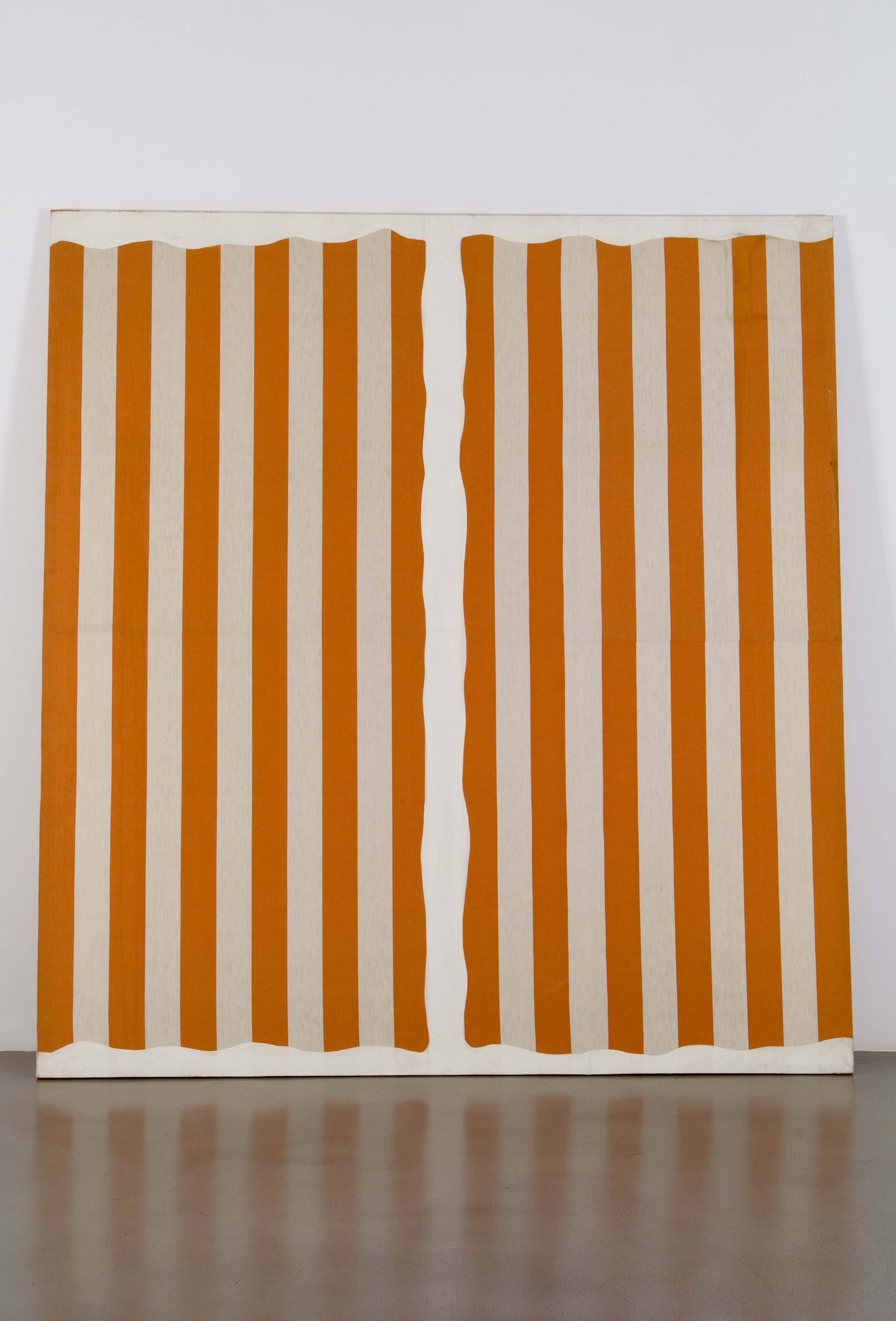 Daniel Buren  Peinture aux formes variables,    [September-October] 1966  Acrylic on cotton fabric 217 x 200.5 cm (on canvas) Collection Fondation Louis Vuitton, Paris. © DB - Adagp, Paris .2019 Picture: Courtesy of the artist and Kamel Mennour, Paris