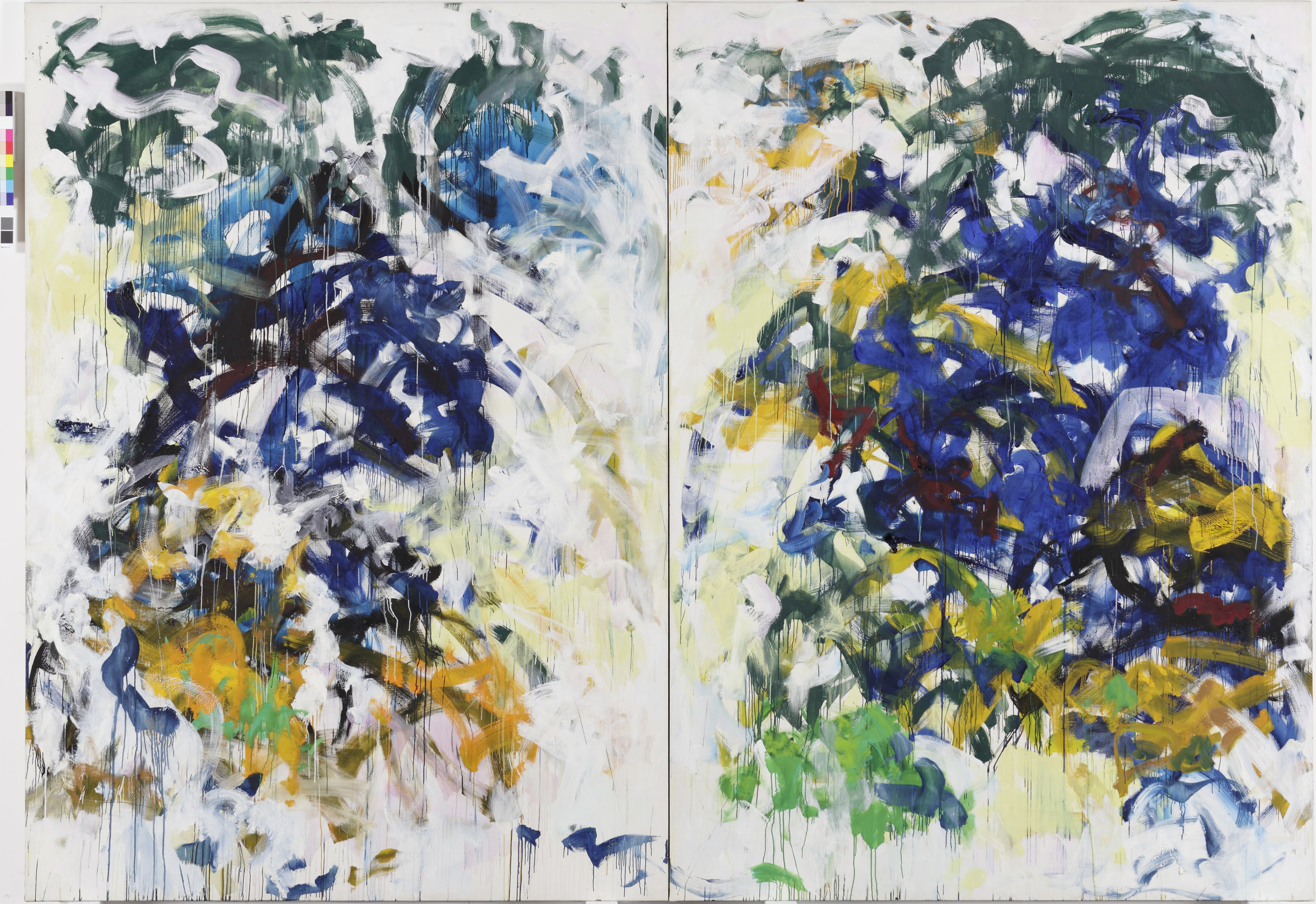 Joan Mitchell  Beauvais   , 1986  Oil on canvas 280 x 400.1 cm Collection Fondation Louis Vuitton, Paris. © The Estate of Joan Mitchell Picture: © Primae / David Bordes