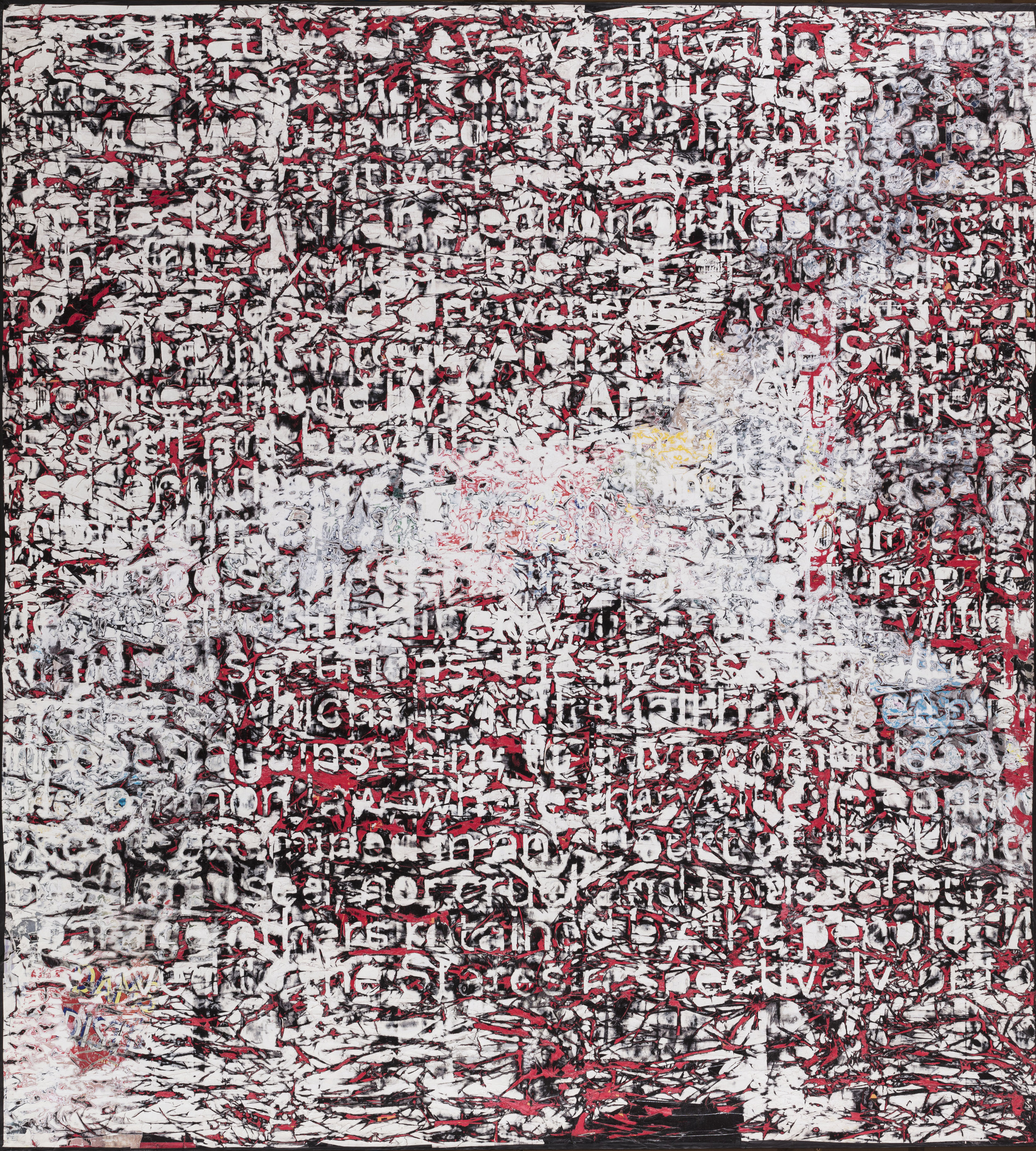 Mark Bradford  Constitution IV   , 2013  Mixed media on canvas 335.3 x 304.8 cm Collection Fondation Louis Vuitton, Paris. © 2019 Mark Bradford Picture: © Primae / David Bordes