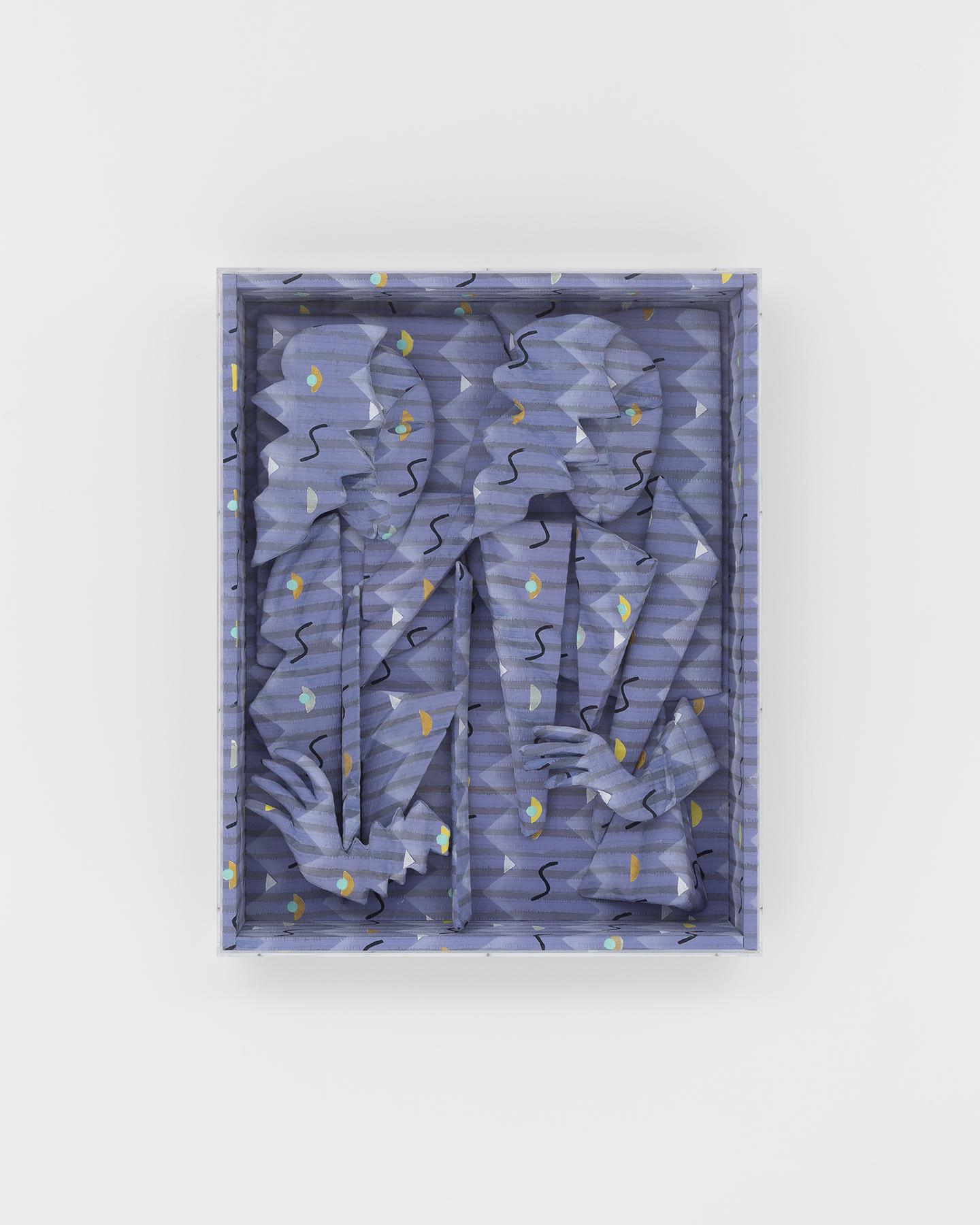 Anya Kielar  Talk Talk,  2019 paint, linen fabric, foam, aqua-resin, wood, plexiglass 38.5 x 30.5 x7.5 in / 97.8 x 77.5 x 19.1 cm