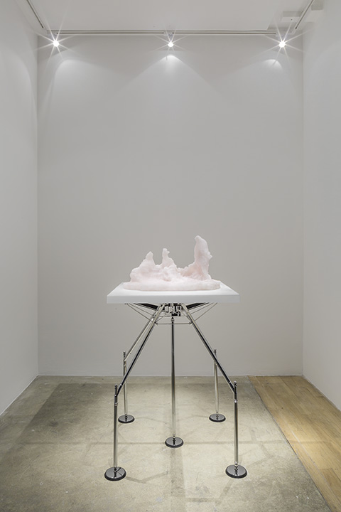 Barry X Ball  Conversation , 2013 – 2019 Pink Iranian onyx, white Vietnamese marble, steel, aluminum, stainless steel  16.9 x 26.4 x 13.5 in 42.9 x 67.1 x 34.3cm 42.1 x 33.1 x 33.1 in 107 x 84 x 84 cm, pedestal