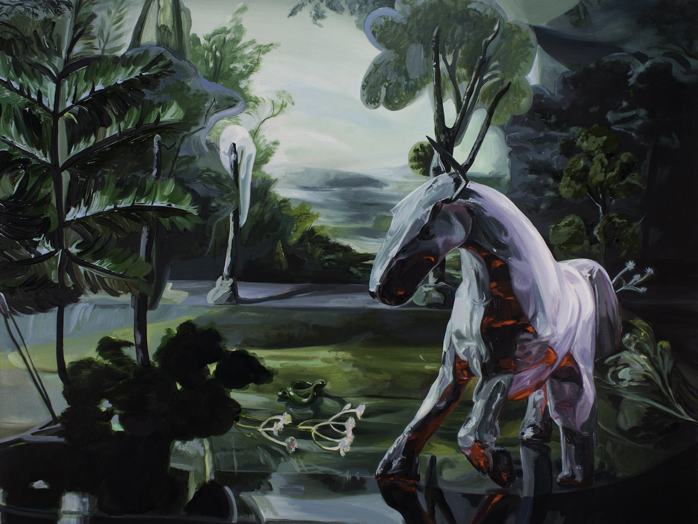 Emma Webster Pale Horse, 2019 Oil on canvas 30 h x 40 w in 76.20 h x 101.60 w cm