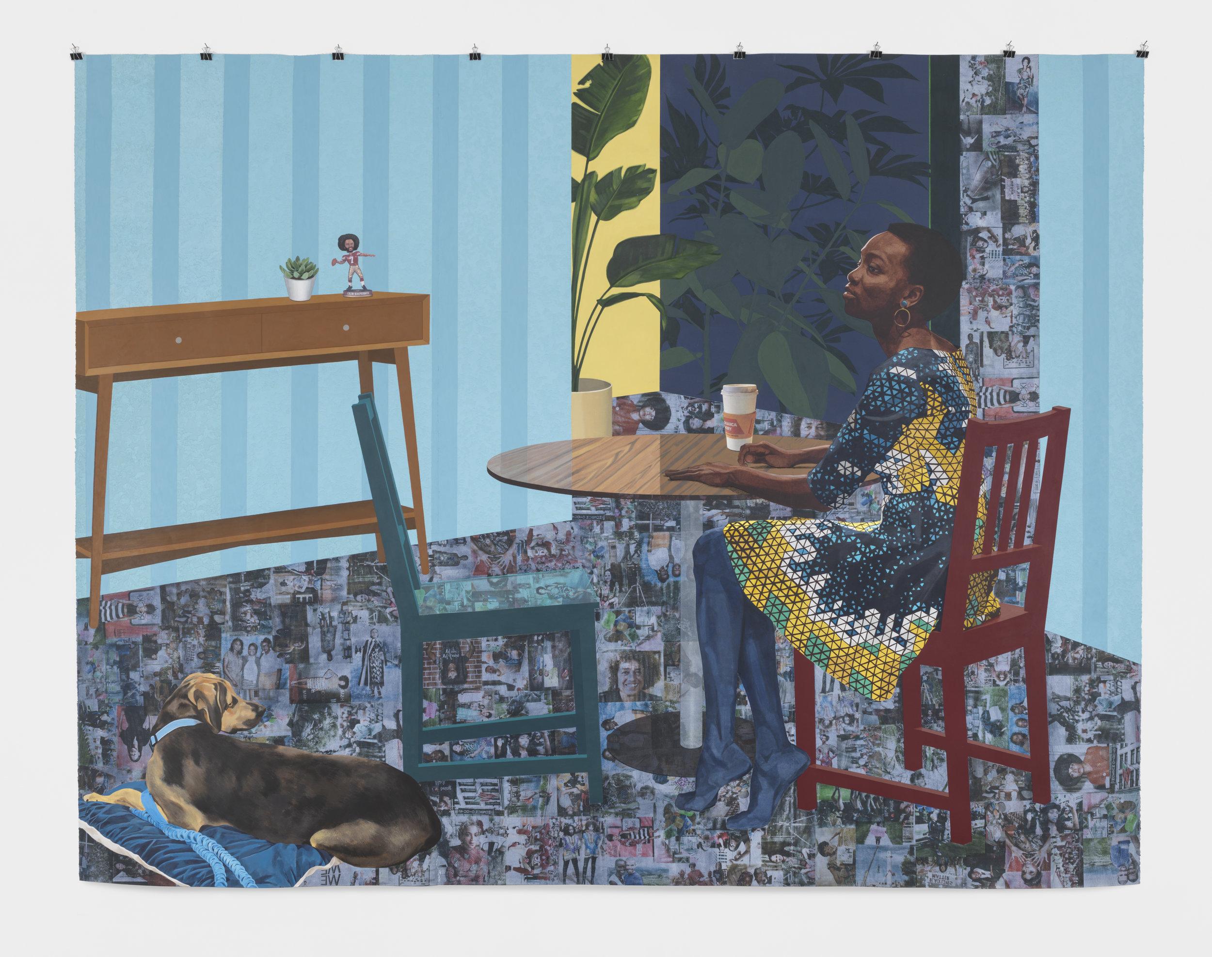 "Njideka Akunyili Crosby Dwell: Me, We, 2017 Acrylic, transfers, colored pencil, charcoal and collage on paper 96"" x 124"""