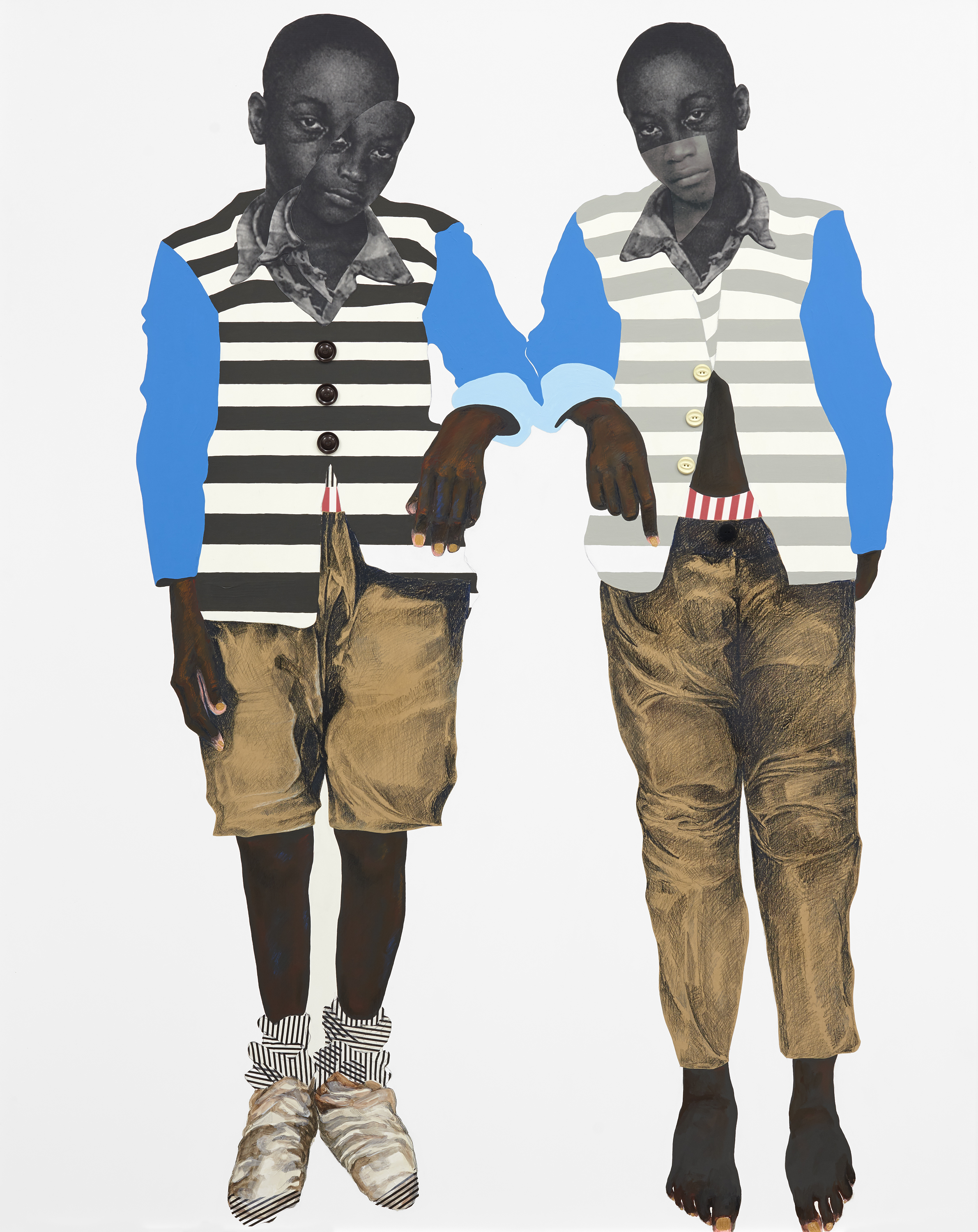 "Deborah Roberts He looks like me (2019) paper, pastel, tissue, buttons, ink, and acrylic on panel 61 1/4"" x 49 1/2"" inches *MADE FOR PLUMB LINE"