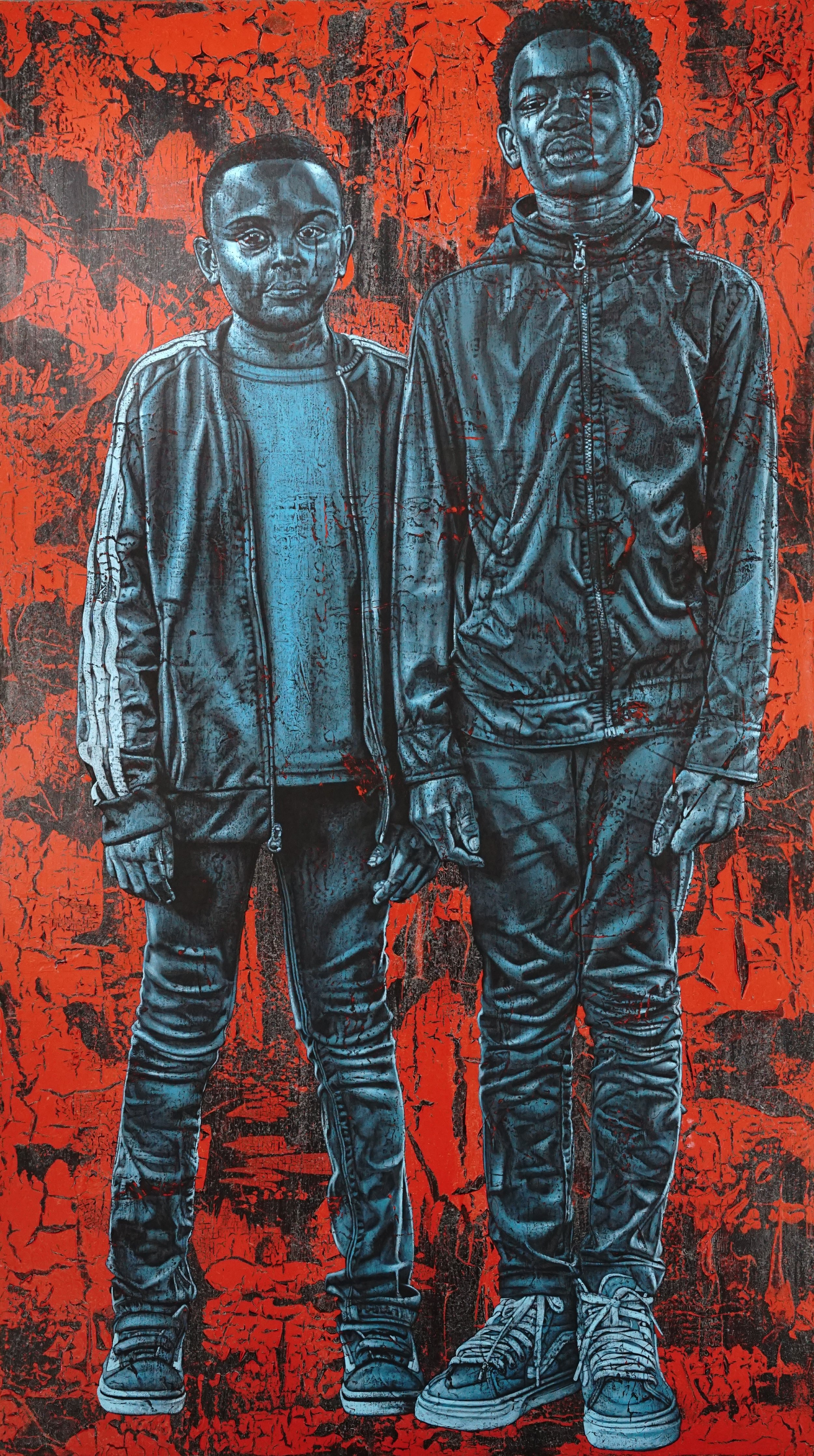 "Alfred Conteh ""DJ and Tay,"" 2019 Acrylic on Canvas Approximately 84x32-37 inches, *MADE FOR PLUMB LINE"