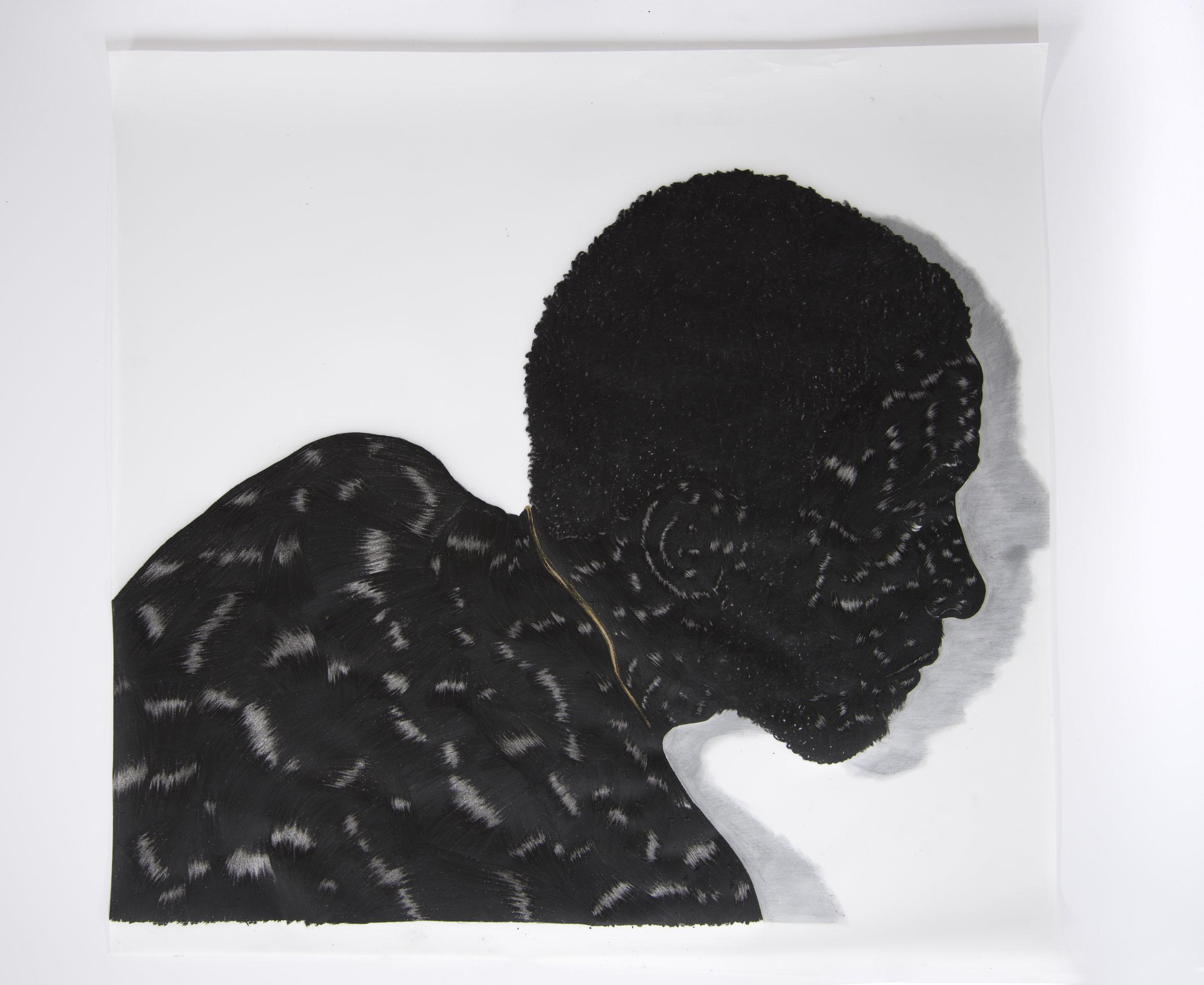 "Toyin Ojih Odutola ""Birmingham Study 1,"" 2014 Charcoal on Mylar 30 1/8 x 32 1/2"""