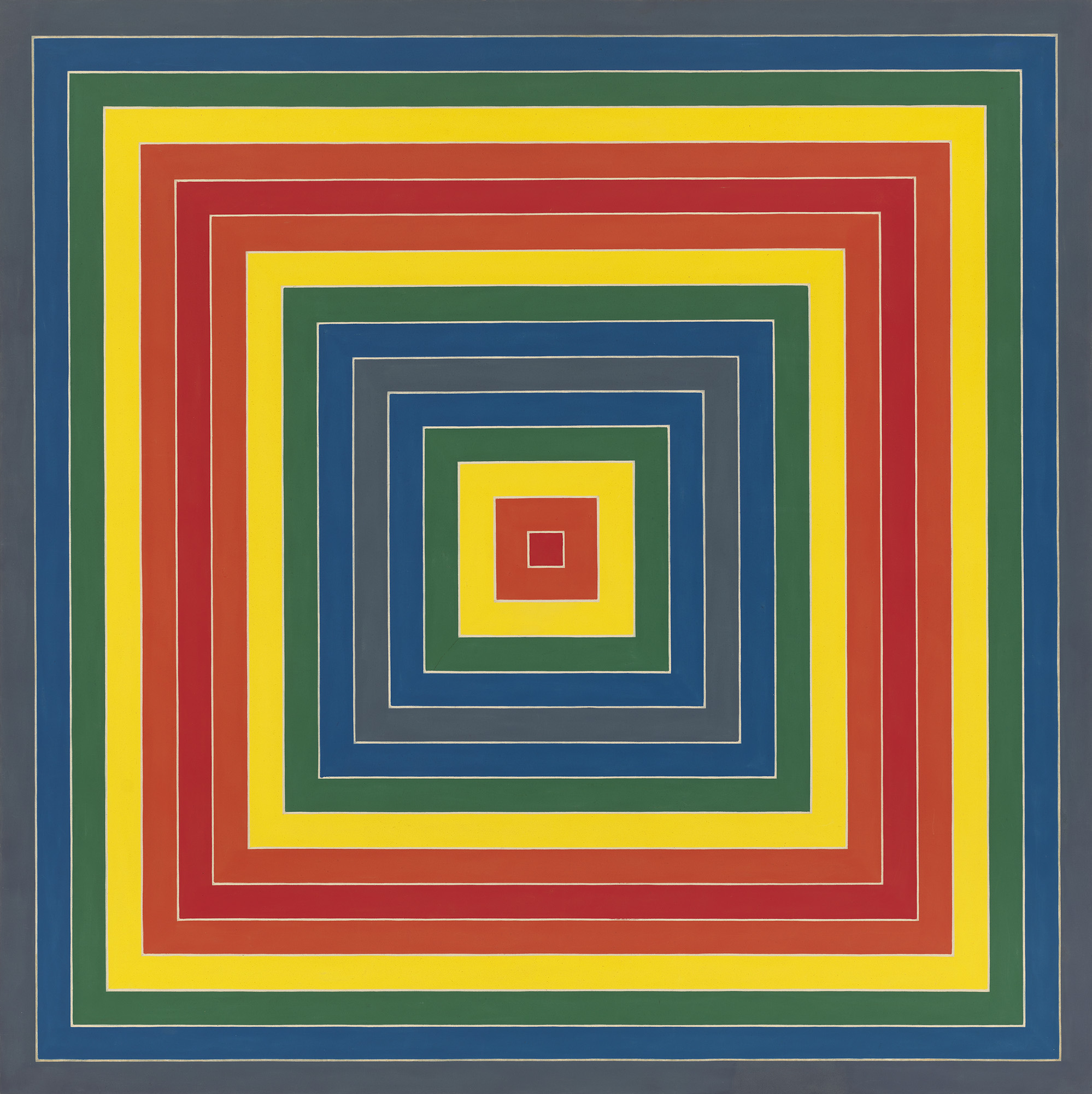 Frank Stella,  Gran Cairo , 1962. Alkyd on canvas, 85 9/16 × 85 9/16 in. (217.3 × 217.3 cm). Whitney Museum of American Art, New York; purchase with funds from the Friends of the Whitney Museum of American Art 63.34. © 2019 Frank Stella/Artists Rights Society (ARS), New York