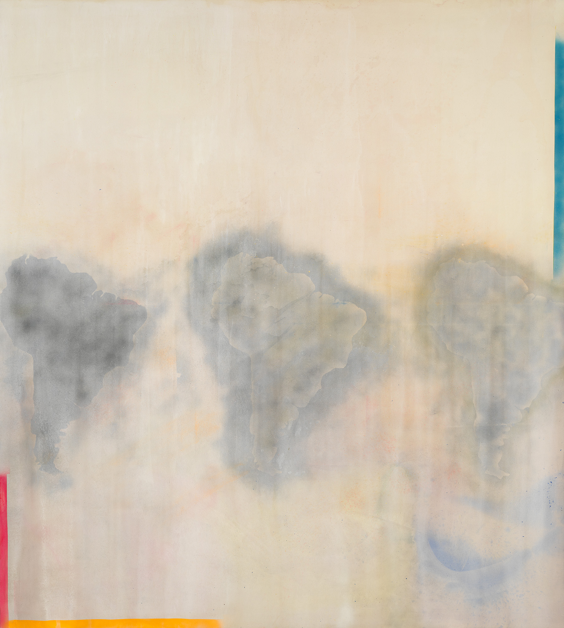 Frank Bowling, Dan Johnson's Surprise, 1969. Acrylic on canvas, 115 15/16 × 104 1/8 in. (294.5 × 264.5 cm). Whitney Museum of American Art, New York; purchase with funds from the Friends of the Whitney Museum of American Art 70.14. © 2019 Frank Bowling/Licensing by Artists Rights Society (ARS), New York