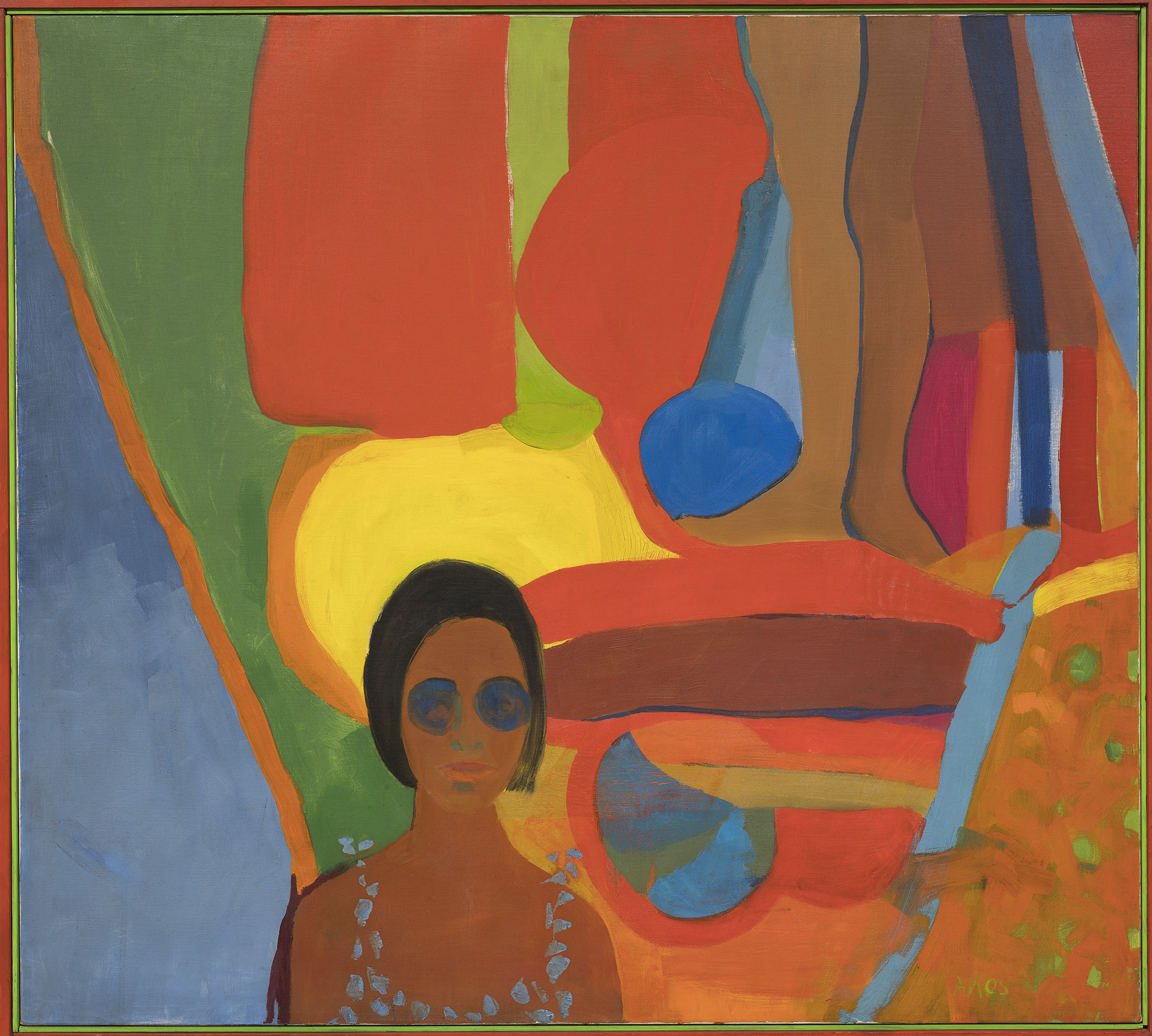 Emma Amos (b. 1938),  Baby , 1966. Oil on canvas, 46 1/2 × 51 in. (118.1 × 129.5 cm). Whitney Museum of American Art, New York; purchased jointly by the Whitney Museum of American Art, with funds from the Painting and Sculpture Committee; and The Studio Museum in Harlem, museum purchase with funds provided by Ann Tenenbaum and Thomas H. Lee T.2018.33a-b. © Emma Amos; courtesy of the artist and RYAN LEE Gallery, New York