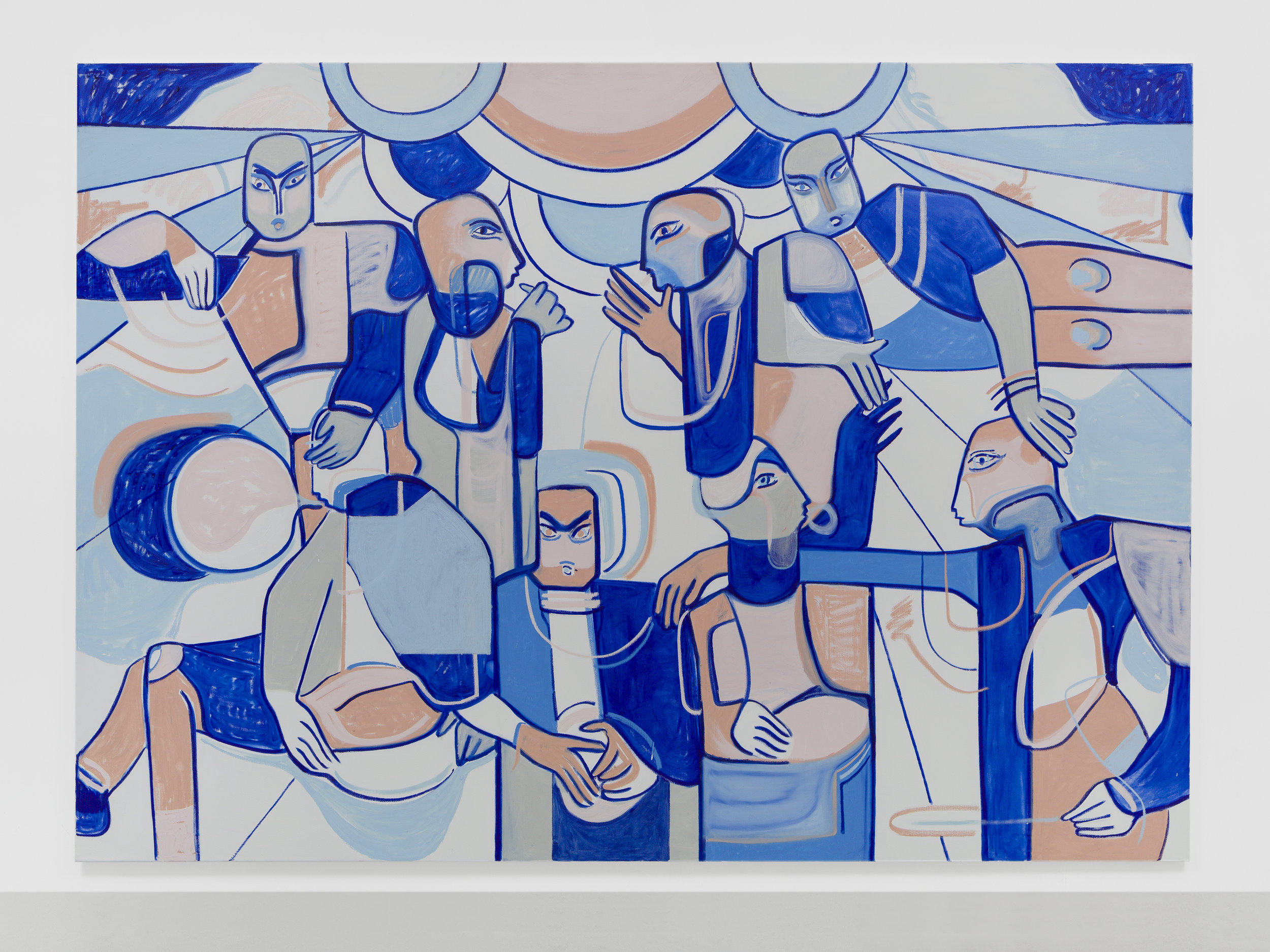 Melike Kara, What it feels like blue, 2019, ol stick and acrylic on canvas, 200 x 280 cm @Ollie Hammick