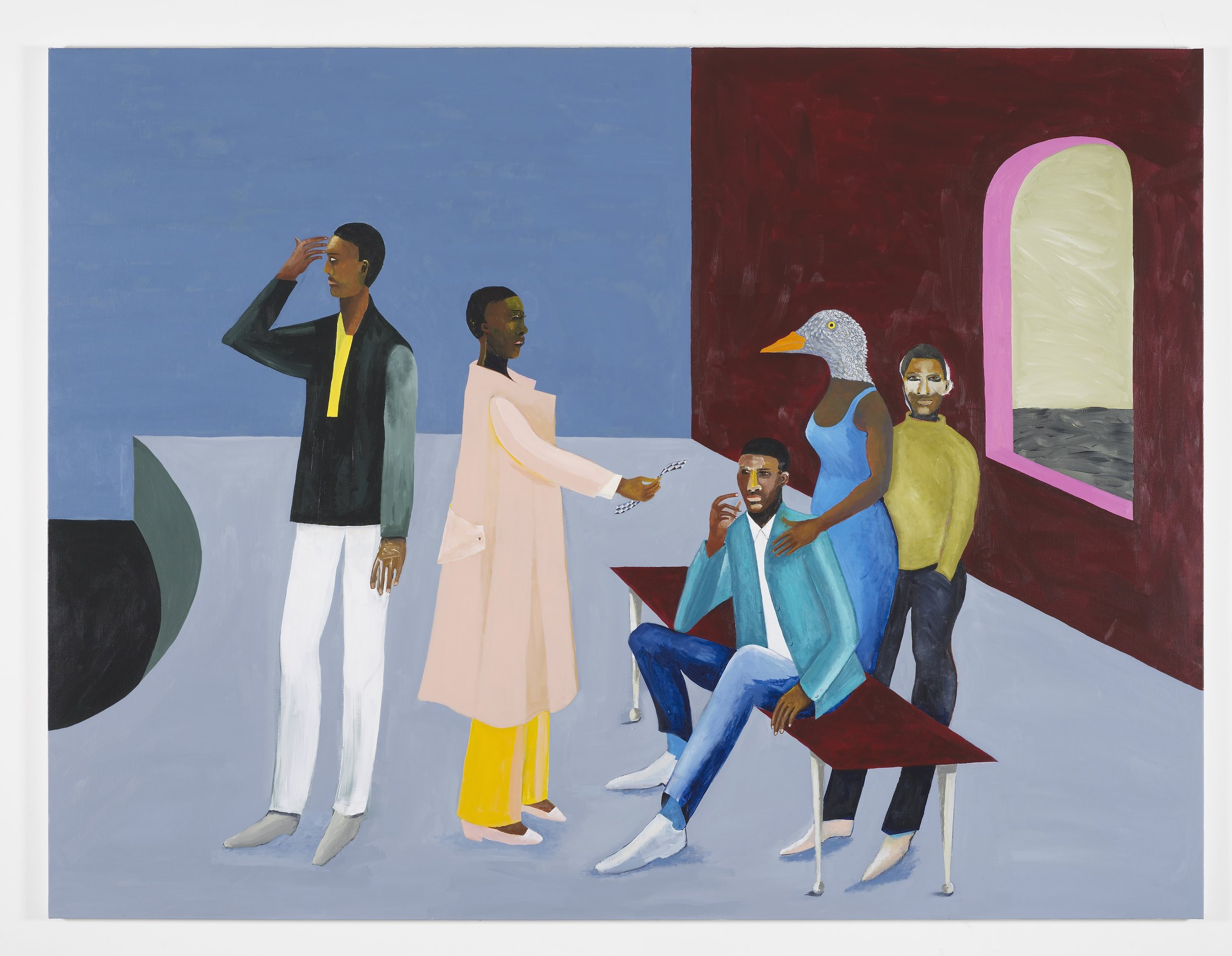 Lubaina Himid, Le Rodeur: The Exchange, 2016. Acrylic on canvas, 72 x 96 1/8 in (183 x 244 cm). Courtesy the artist and Hollybush Gardens. Photo: Andy Keat