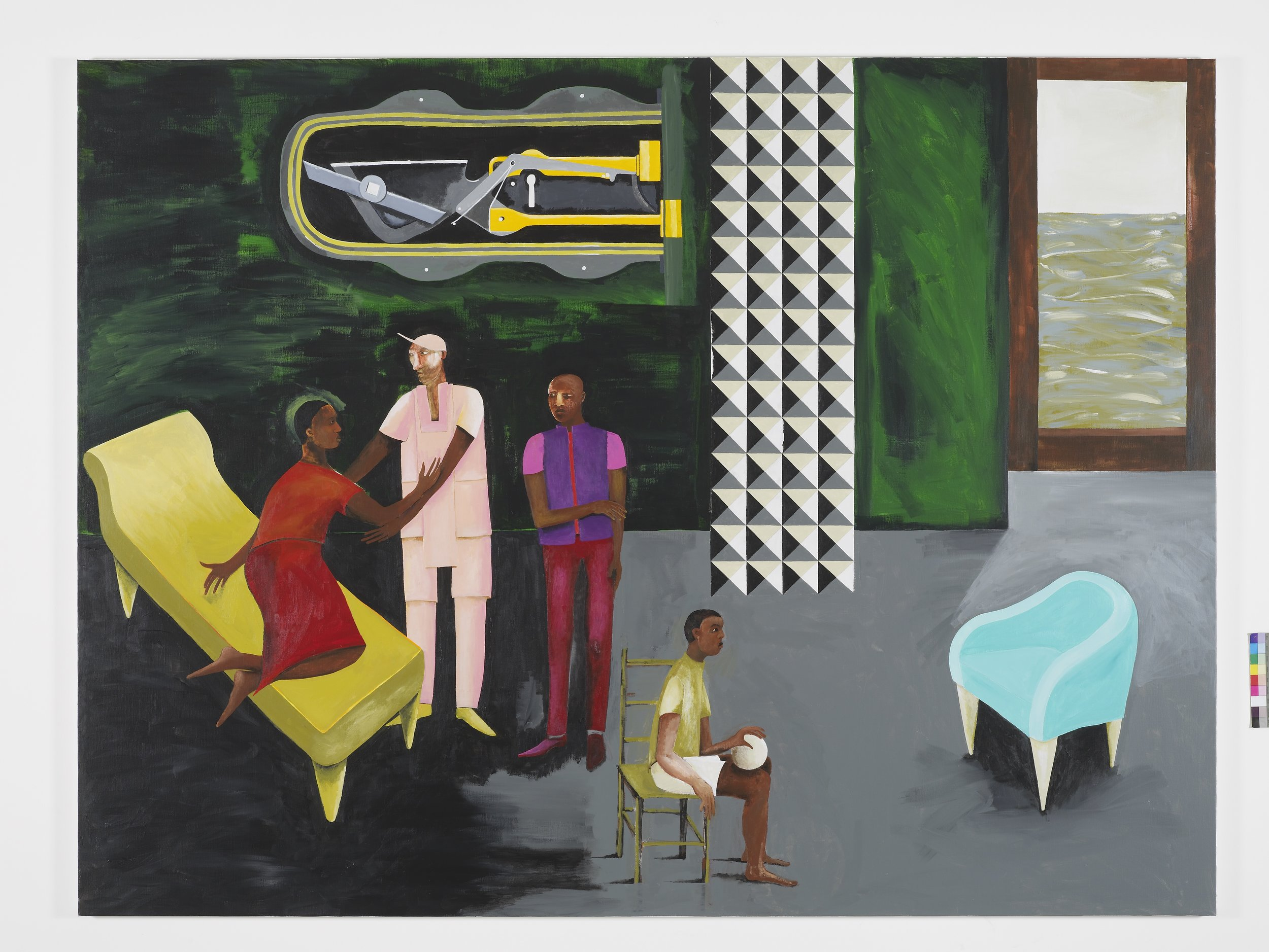 Lubaina Himid, Le Rodeur: The Lock, 2016. Acrylic on canvas, 72 x 96 1/8 in (183 x 244 cm). Courtesy the artist and Hollybush Gardens. Photo: Andy Keat